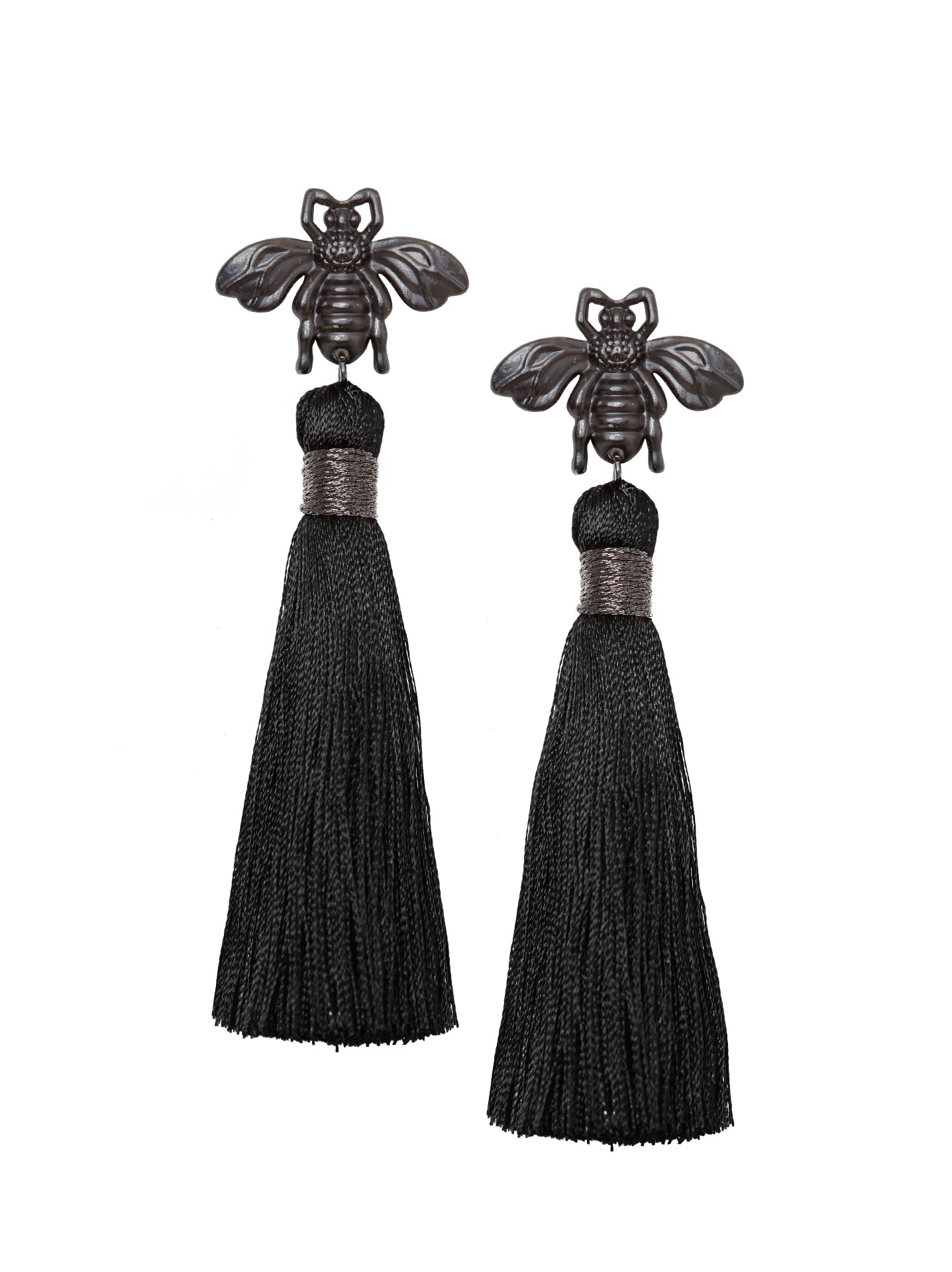 Bee Tassel Earrings Black