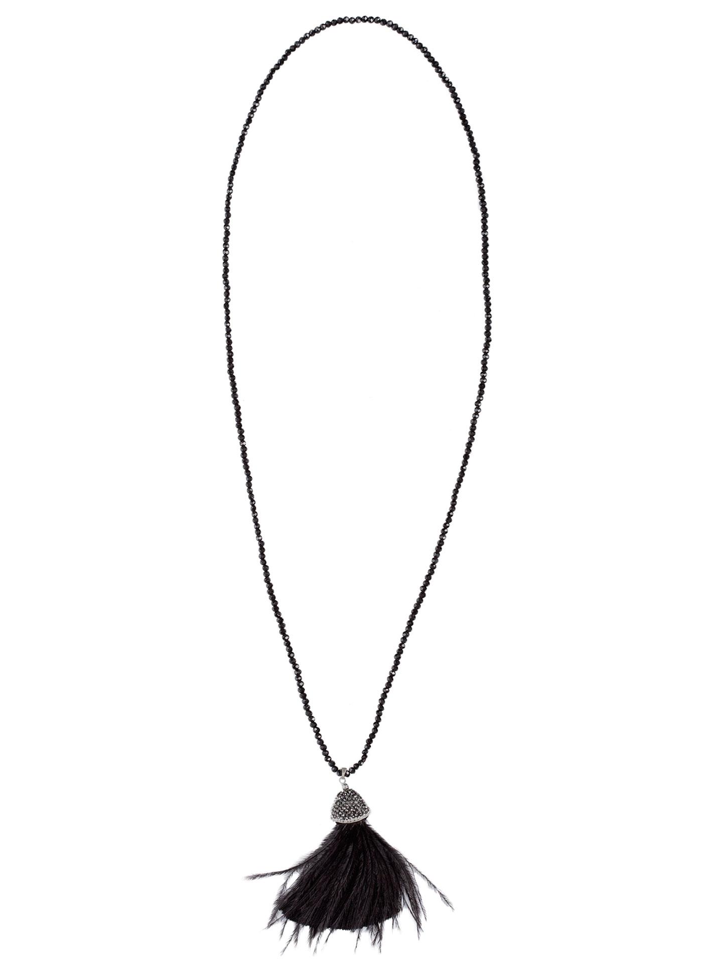 Μακρύ κολιέ με strass και φούντα μαυρο 1702ca02ff6