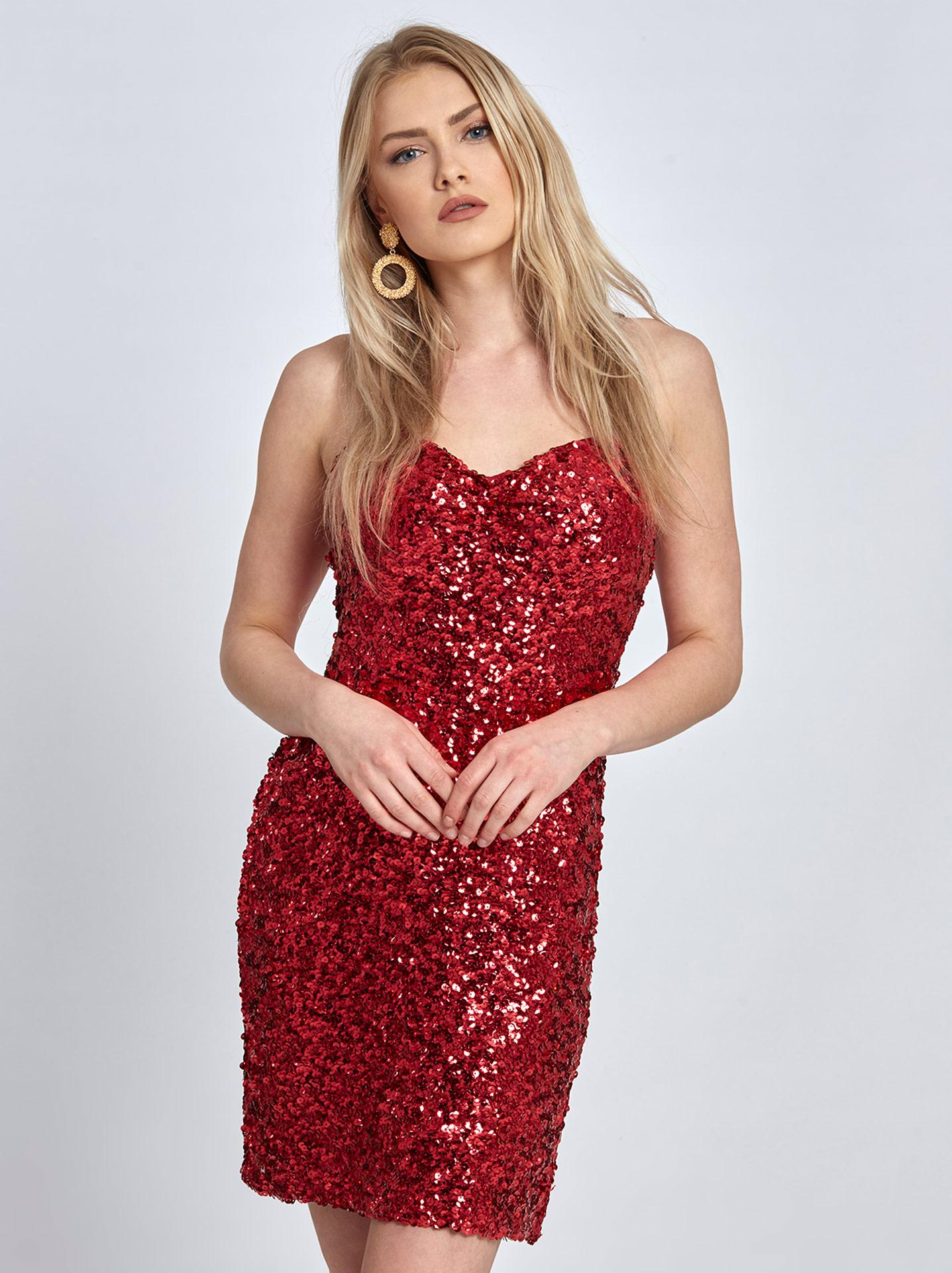 fd61e7fd Mini sequin dress in red, 20.80€ | Celestino