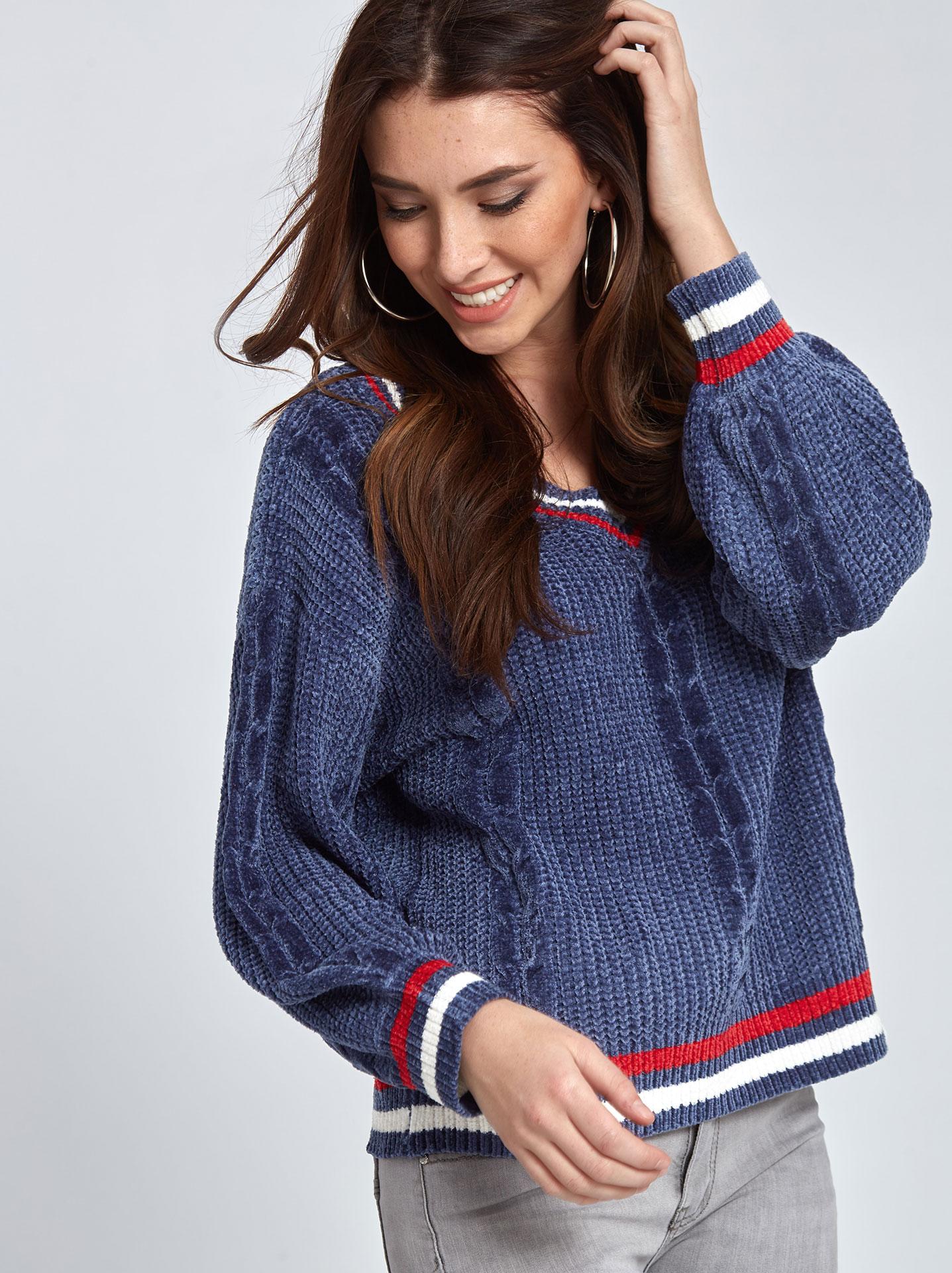 6a91469e9961 Chenille πουλόβερ με ρίγες σε μπλε ραφ