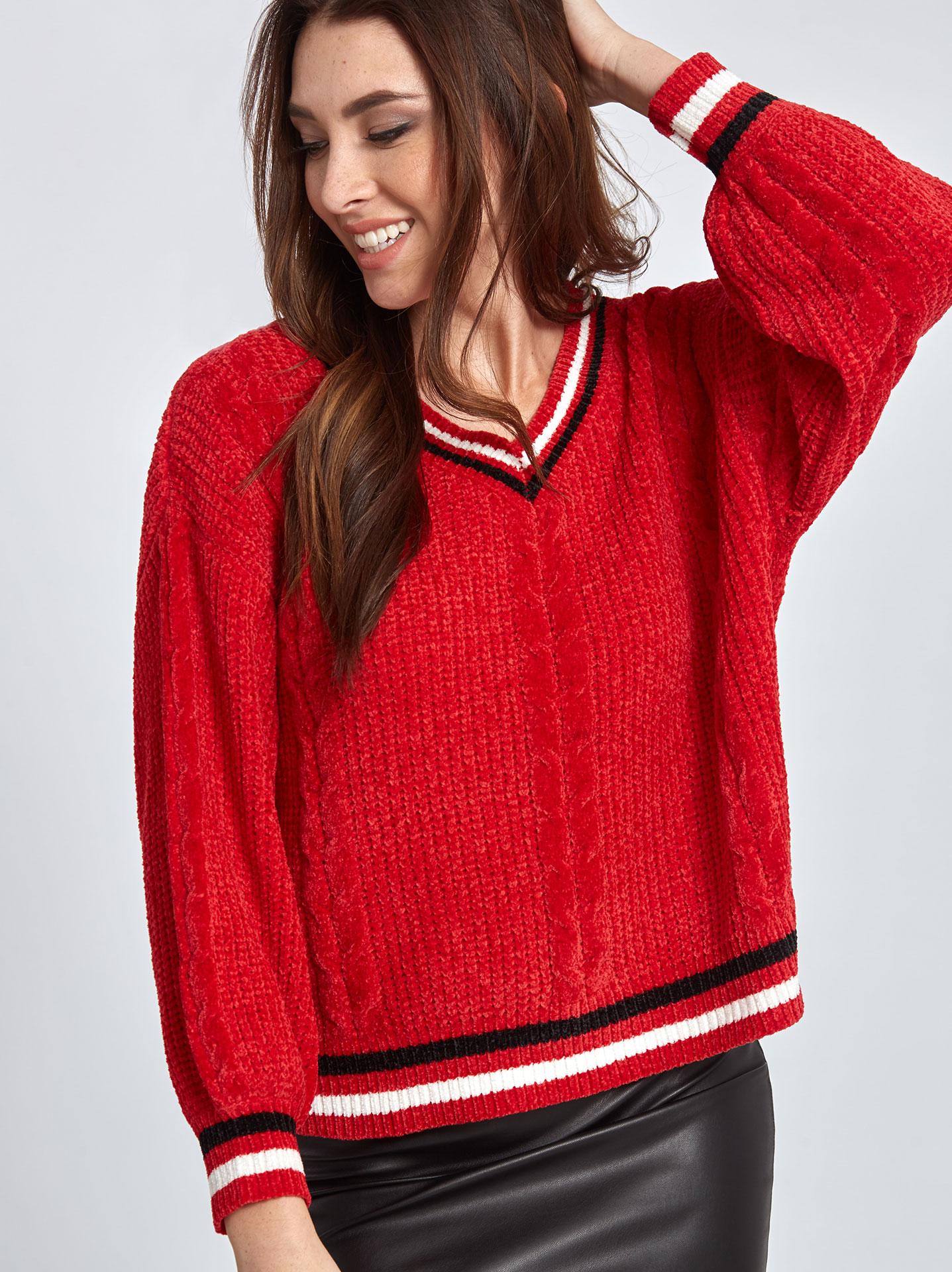 ff91e04a582c Chenille πουλόβερ με ρίγες σε κοκκινο