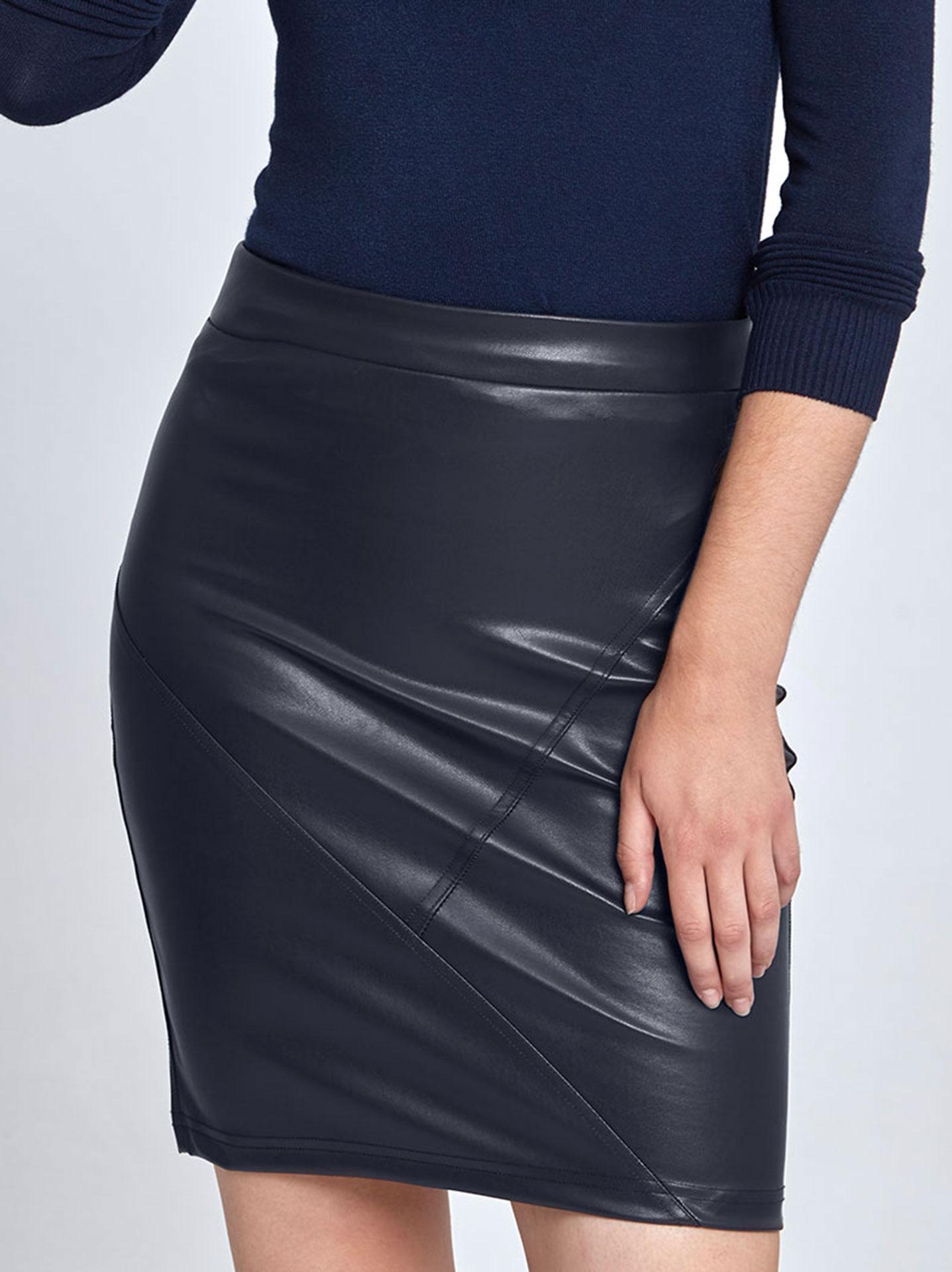 Στενή mini φούστα από δερματίνη σε σκουρο μπλε 2d099313409