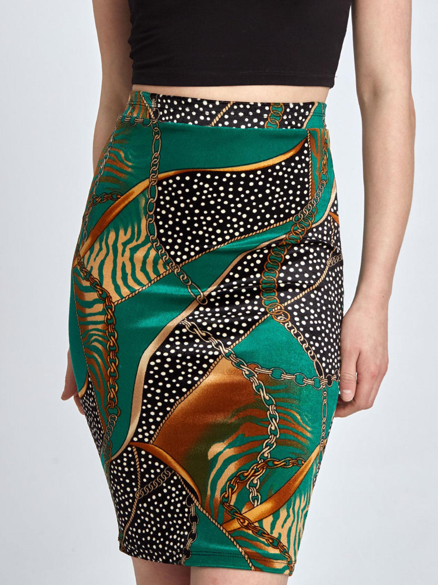 b4fb0ecc5a5e Βελούδινη εμπριμέ φούστα σε πρασινο