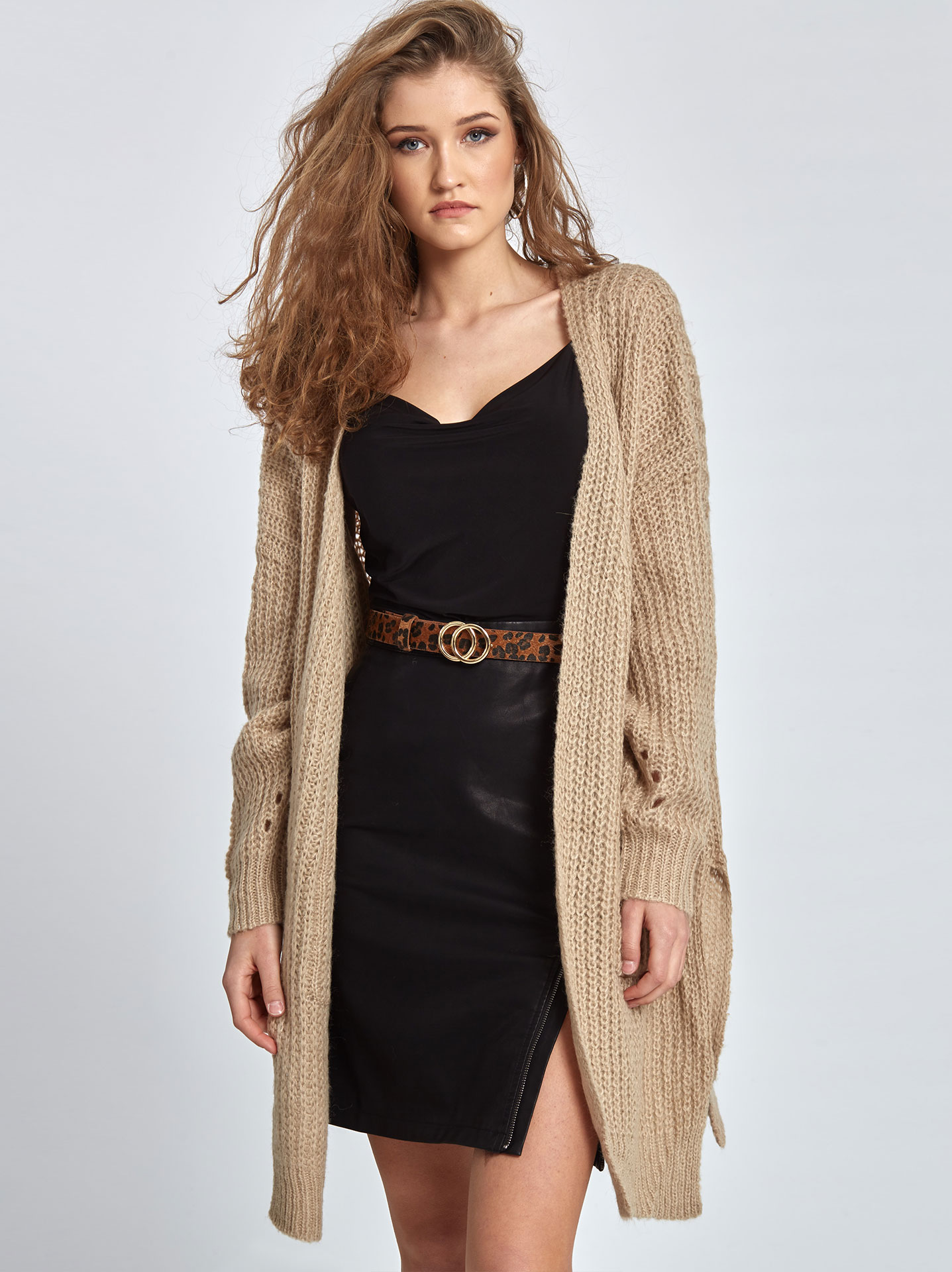 caacbbd8bcfe Long knitted cardigan in beige