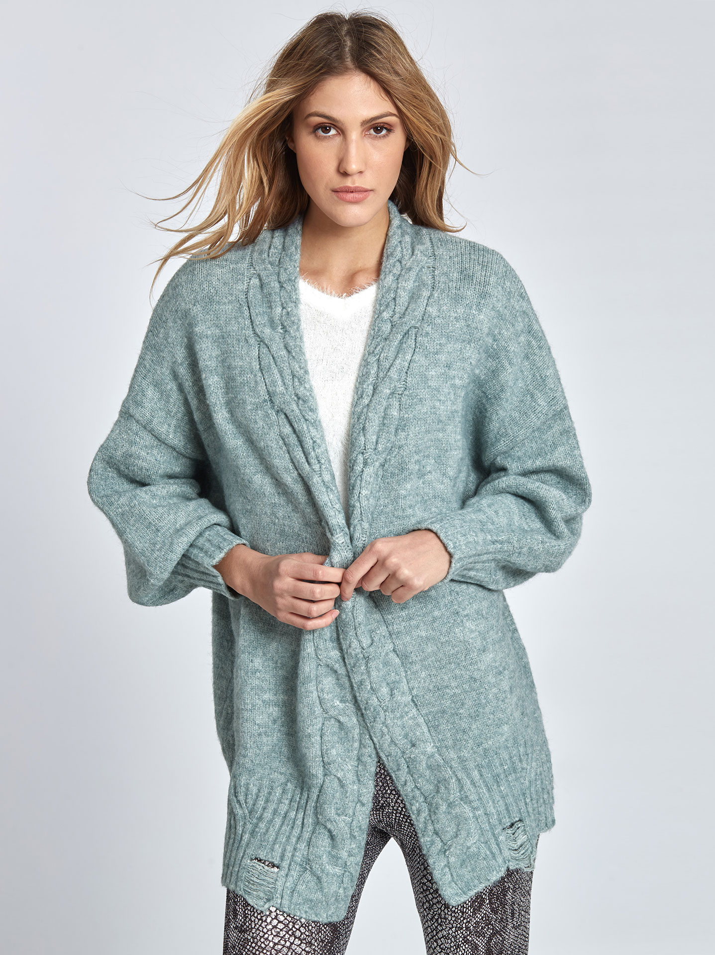 a74150b249 Oversized knitted cardigan in aquamarine