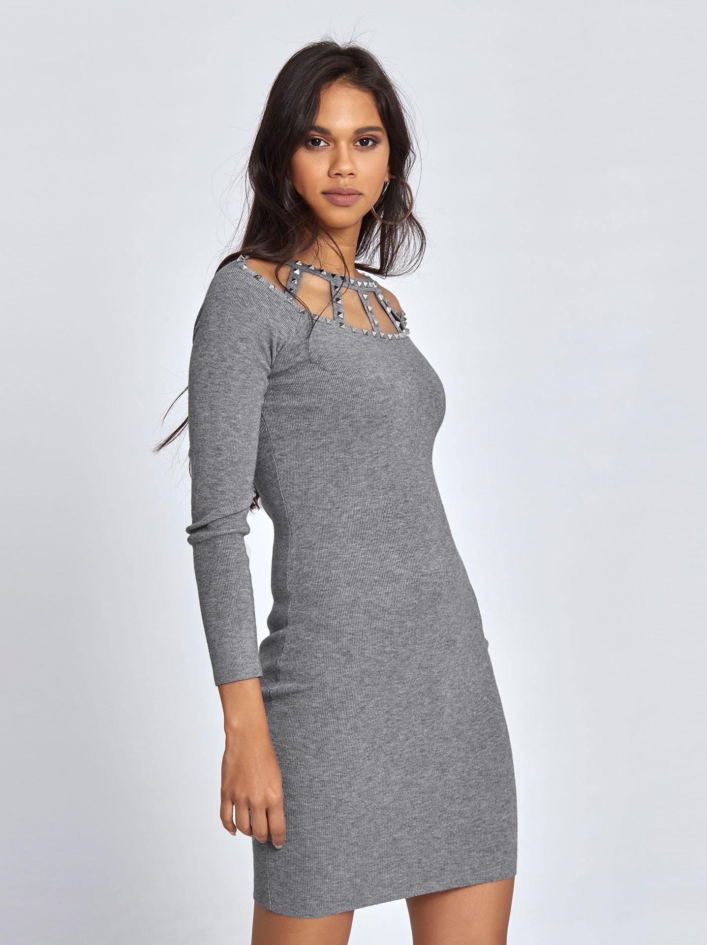 231b4a0777d Mini ριπ φόρεμα με τρουκ γκρι