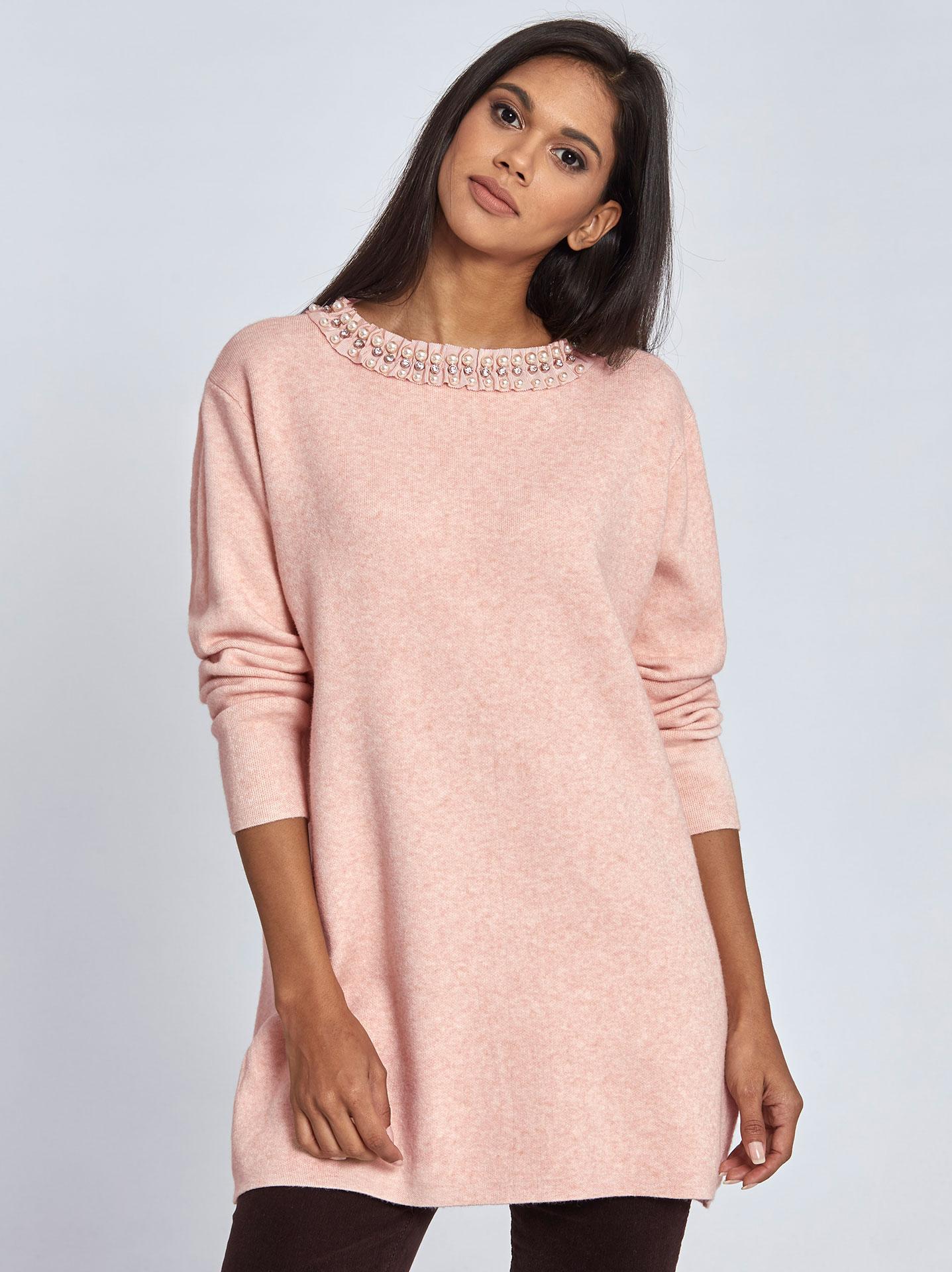 66f5278caa1a Μακρύ πουλόβερ με πέρλες και strass σε ροζ