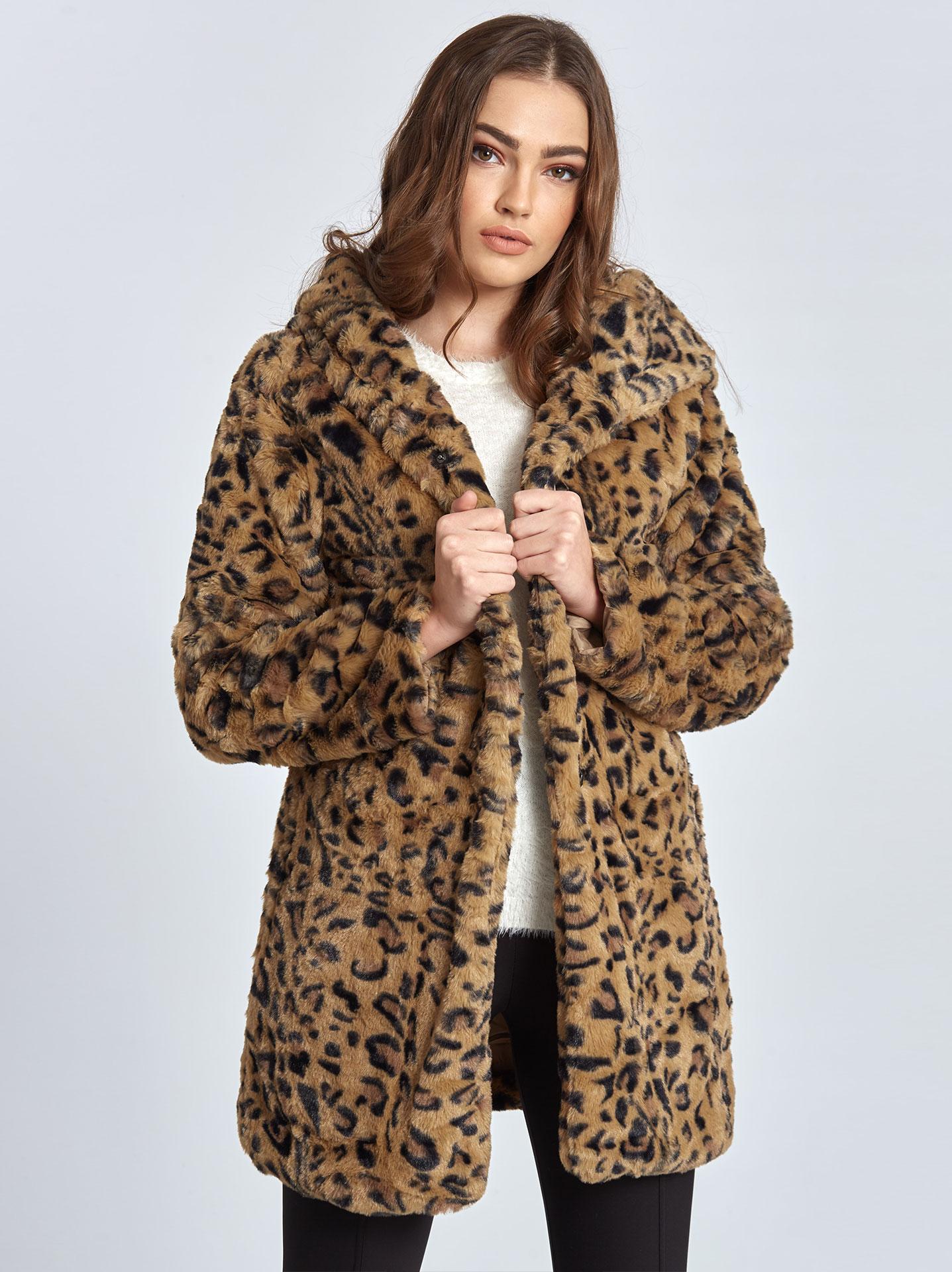 Λεοπάρ παλτό από οικολογική-συνθετική γούνα σε καμηλο d359a63a18a