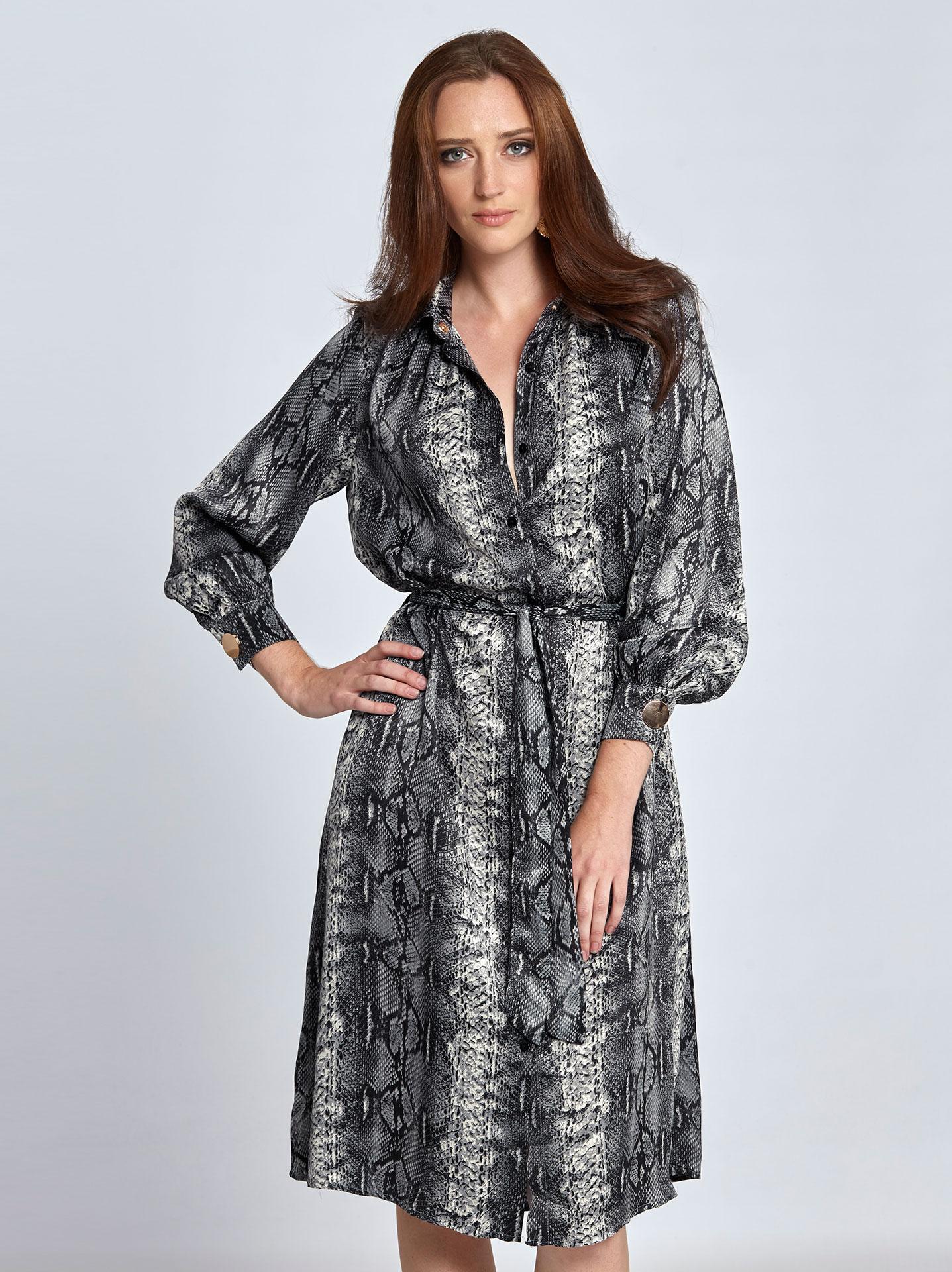 a9a76842b49b Midi φόρεμα με τύπωμα φίδι σε φιδι 1