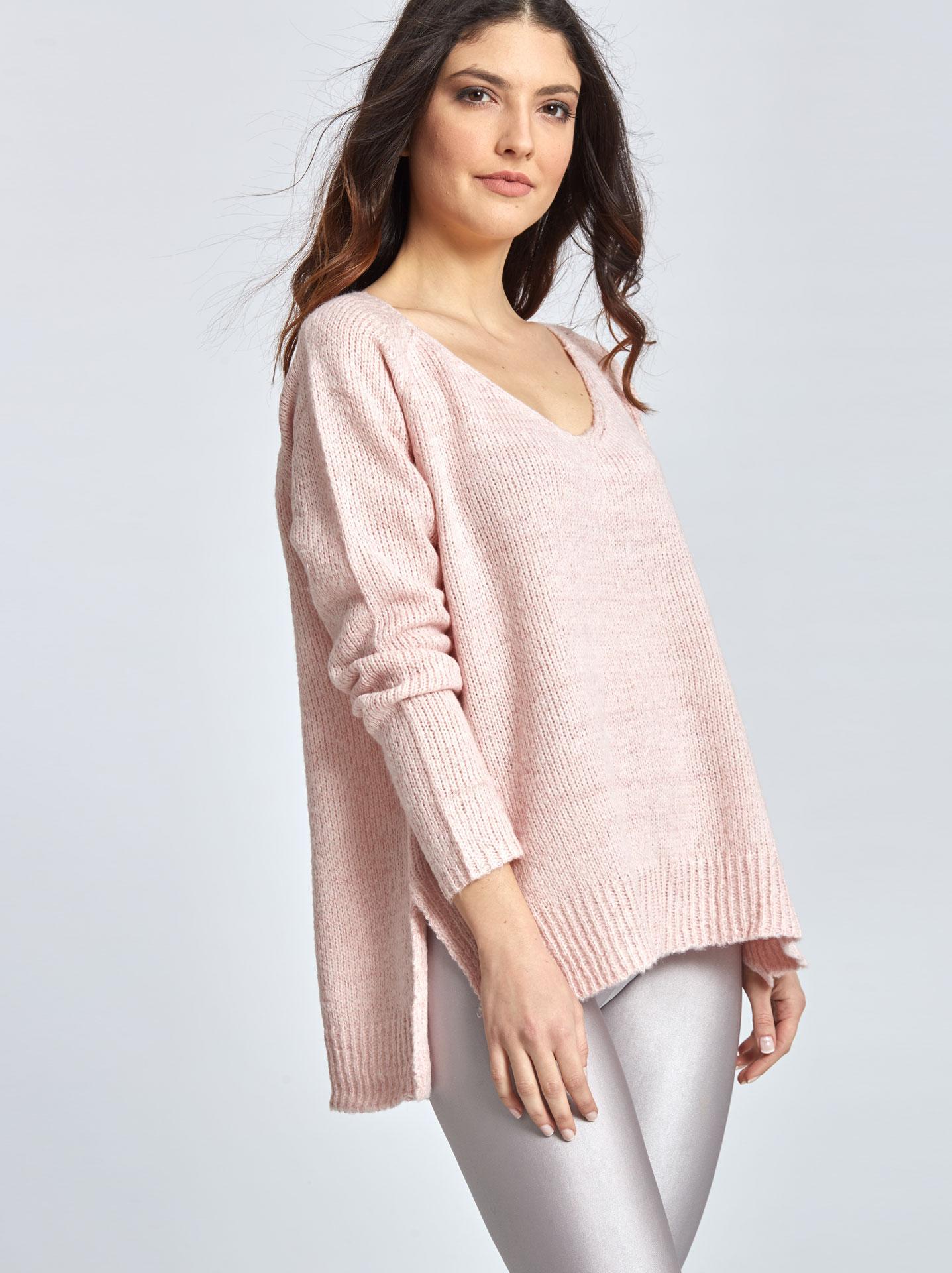 d2477487b2cc Πλεκτό πουλόβερ με μεταλλιζέ λεπτομέρειες σε ροζ