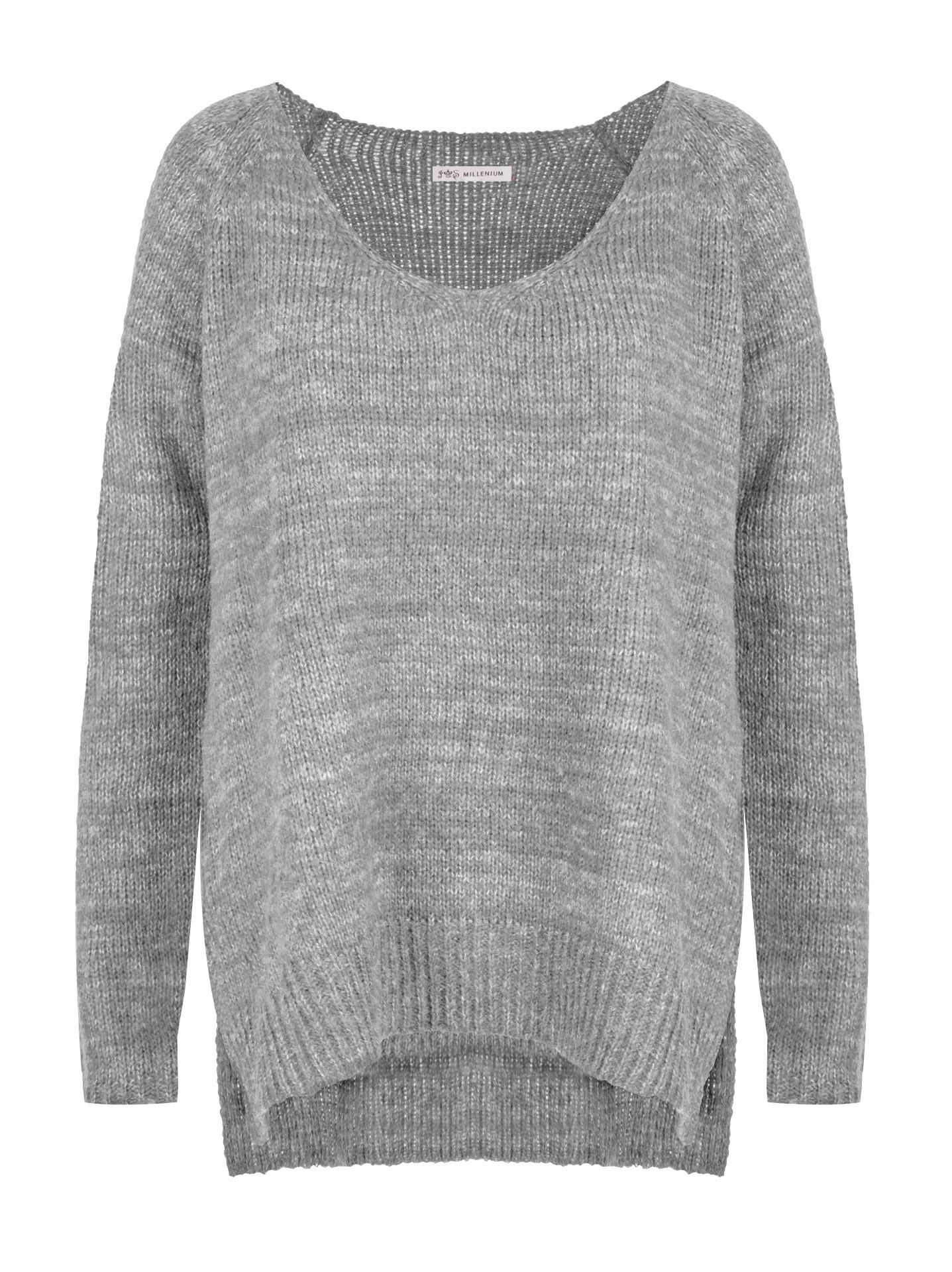 c636eee415da Πλεκτό πουλόβερ με μεταλλιζέ λεπτομέρειες σε γκρι ανοιχτο
