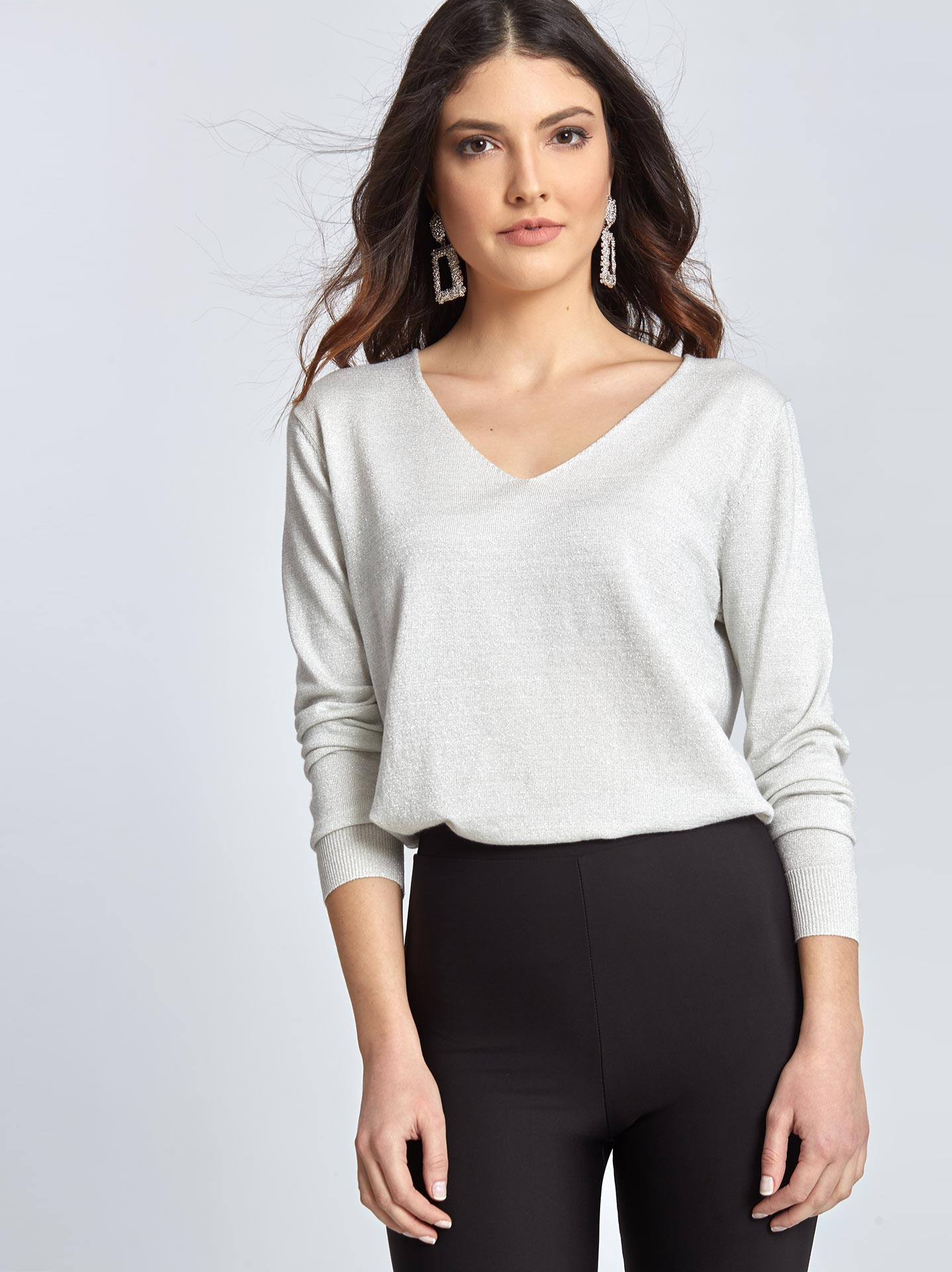 88a77f0f54e5 Μεταλλιζέ πουλόβερ σε λευκο