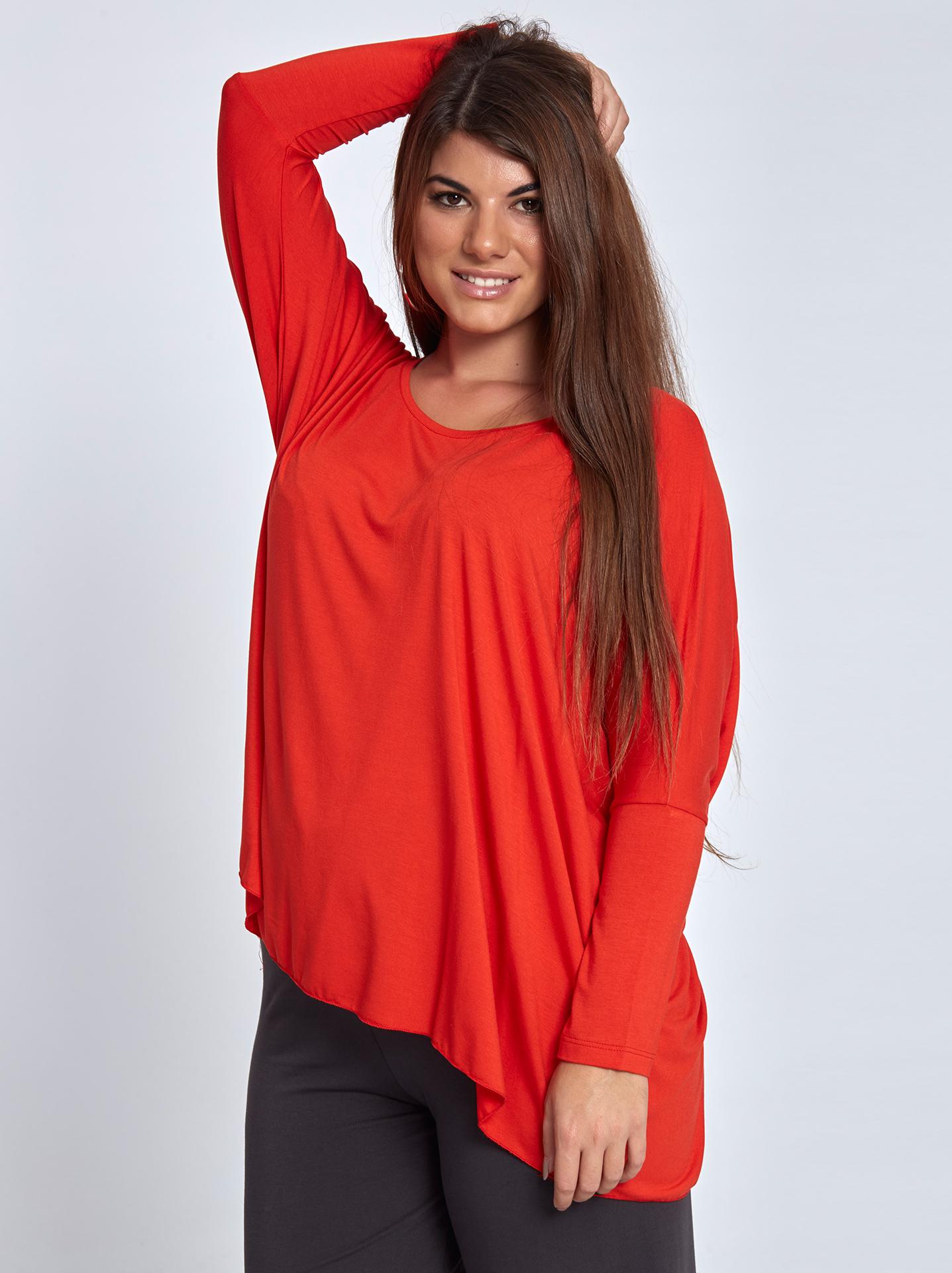 da7add07e5df Μακρυμάνικη μακριά μπλούζα curvy σε κοκκινο ανοιχτο
