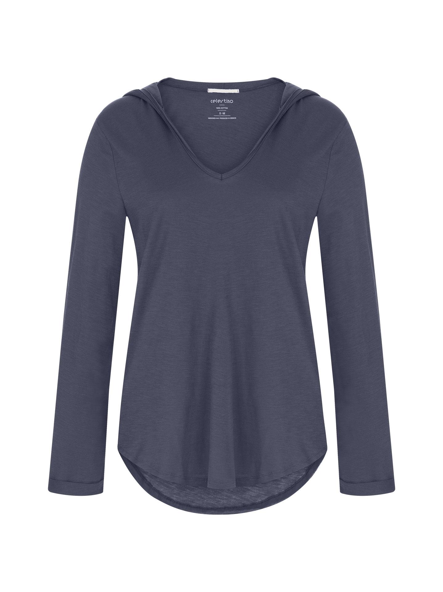 Βαμβακερή μπλούζα με κουκούλα σε μπλε ραφ 0fe7fb6ab9d
