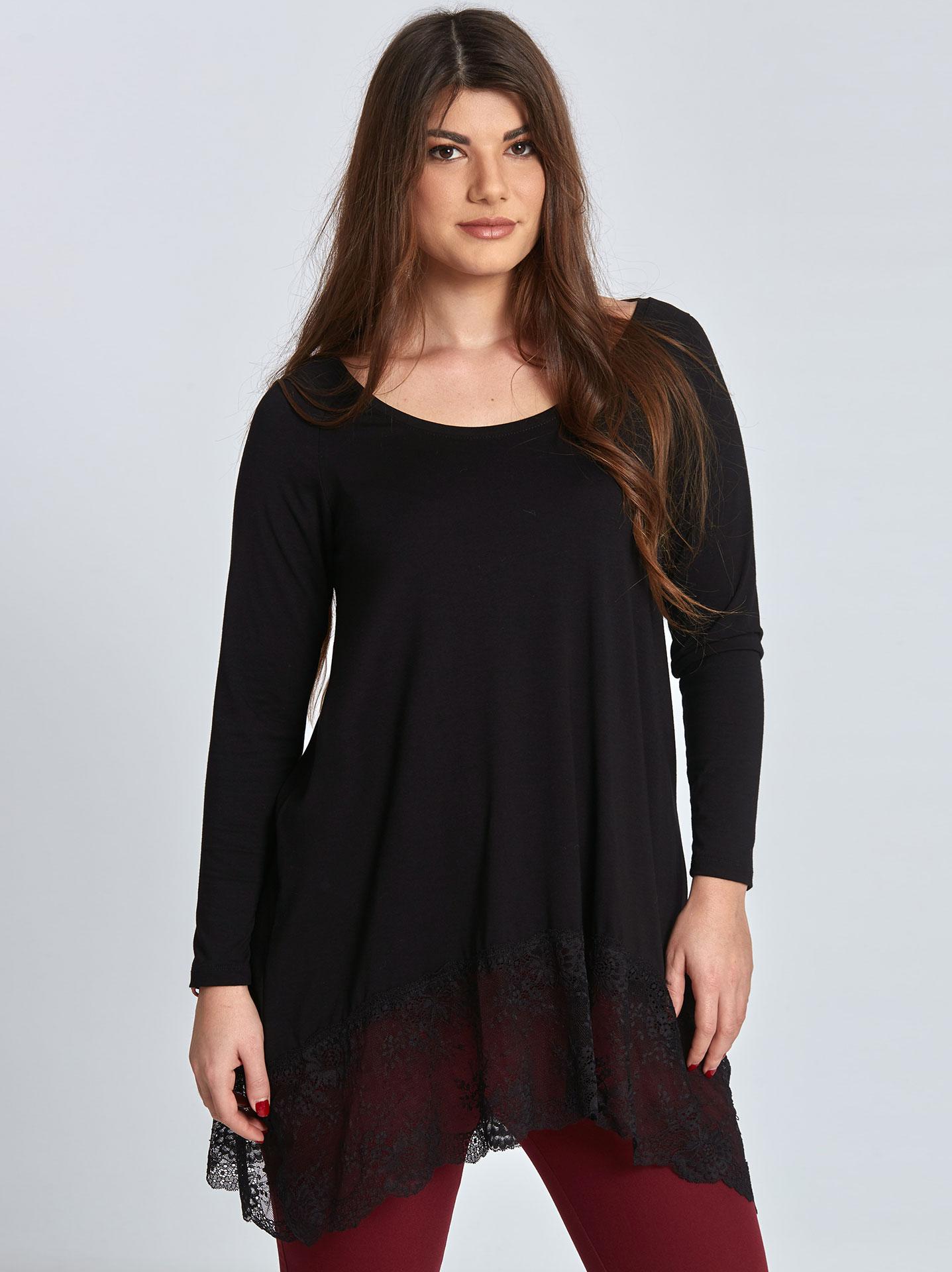 Plus size μπλούζα με δαντέλα σε μαυρο 2bb34504d41