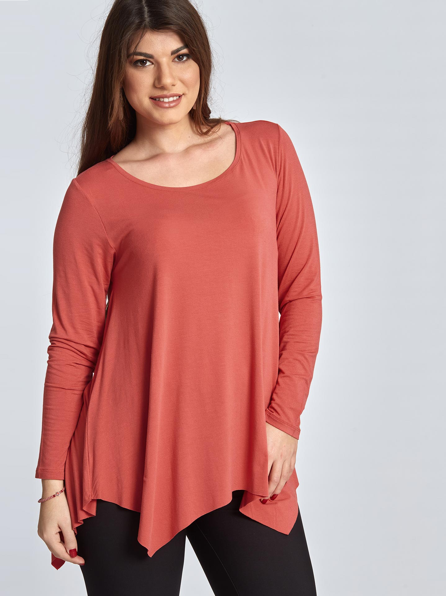 52196aa6173 Plus size asymmetric long sleeve top in coral