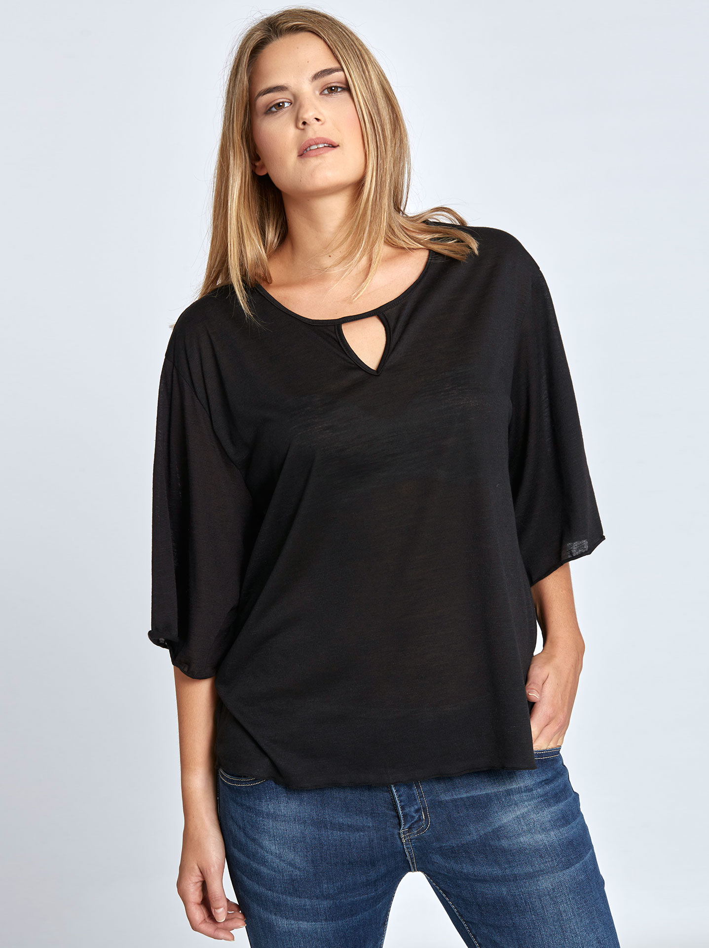 505bfca79b4e Plus size μπλούζα με άνοιγμα στη λαιμόκοψη curvy σε μαυρο