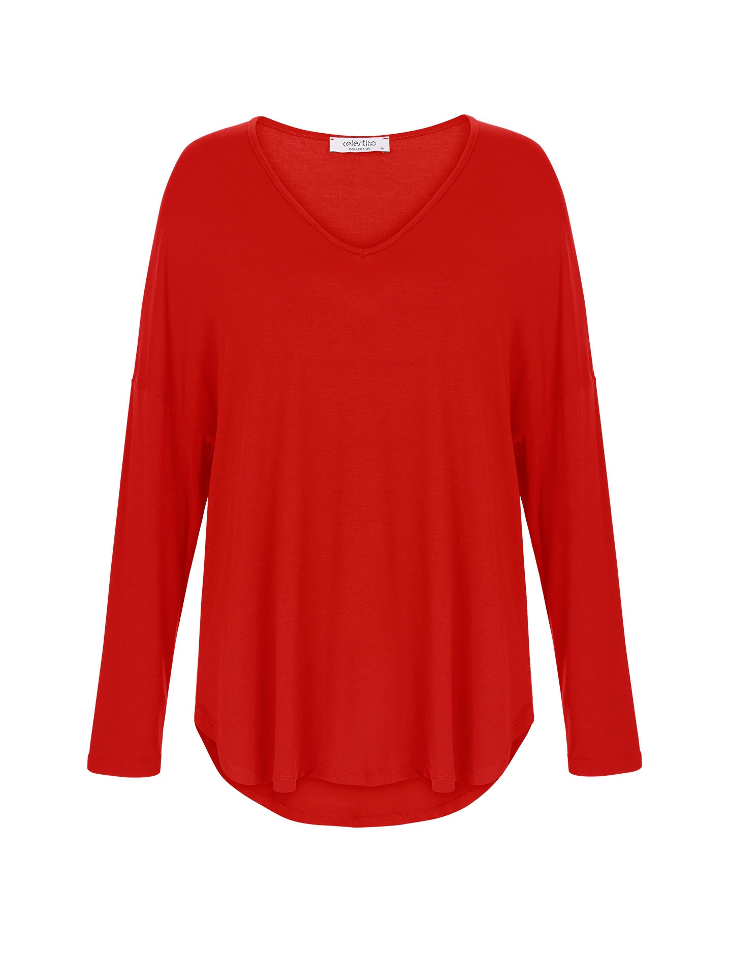 e771f94ca3 Viscose long sleeve top with round hem curvy in light red