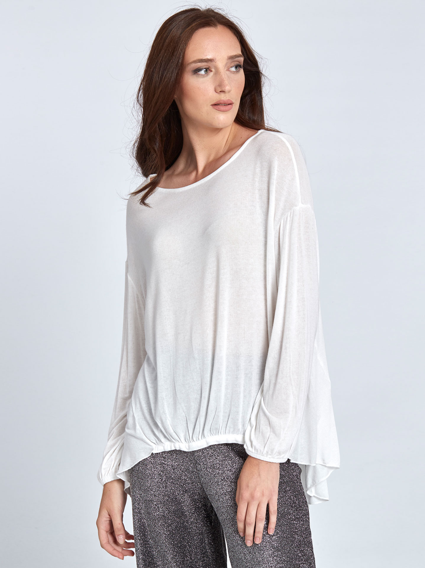 b0d3475040eea Top with shirring detail in off white