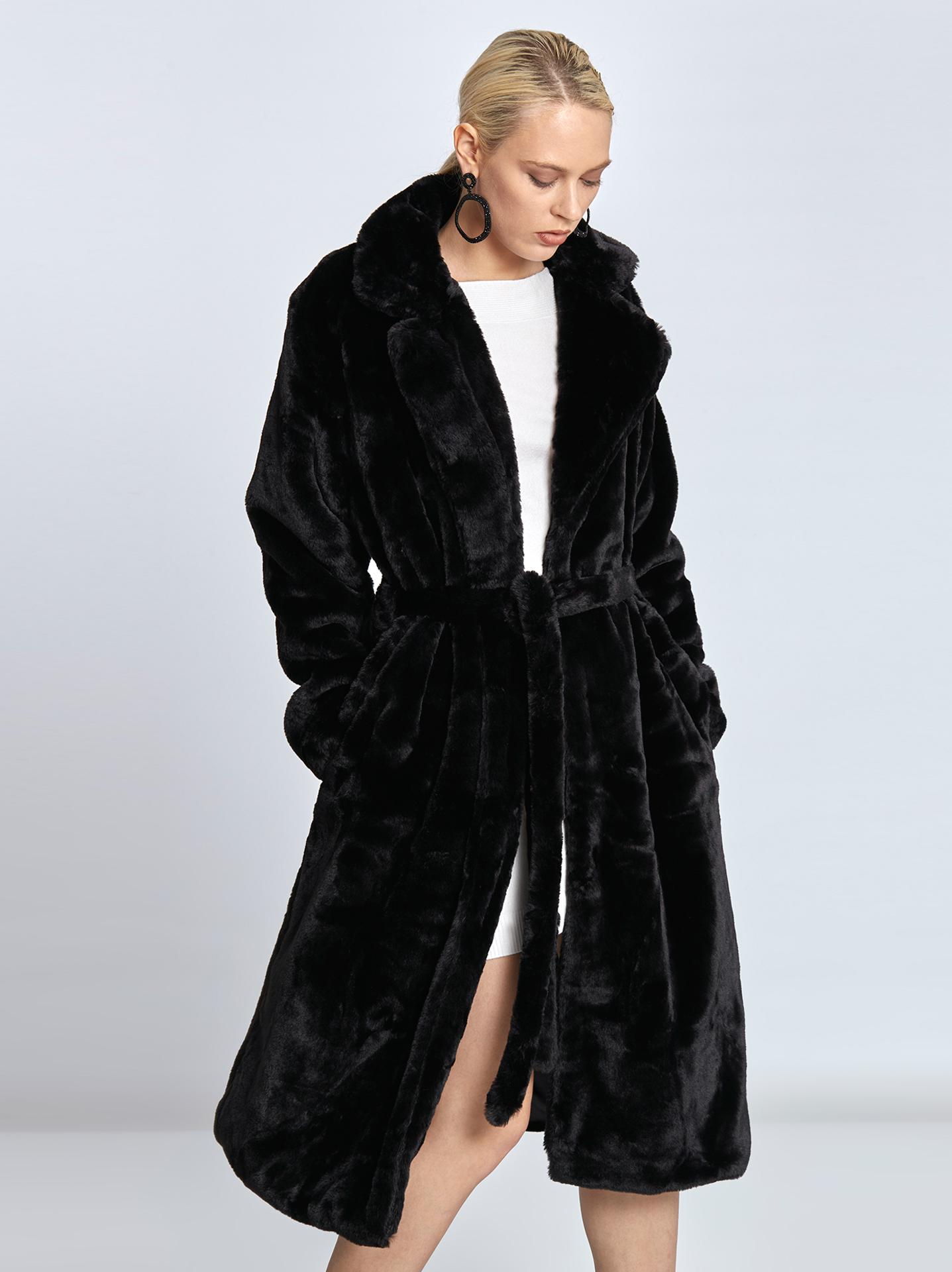 Μακρύ παλτό από συνθετική γούνα σε μαυρο 98da9b90dde