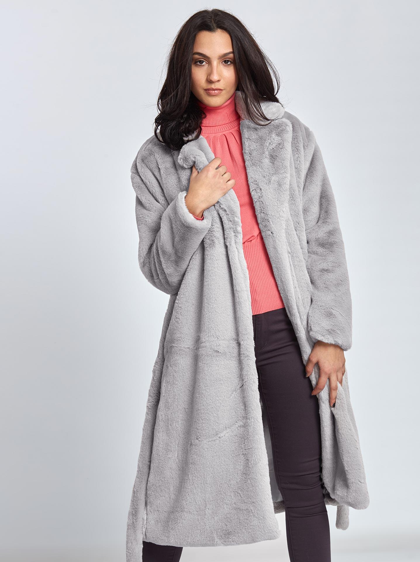 d7867c60e2a0 Μακρύ παλτό από οικολογική-συνθετική γούνα σε γκρι ανοιχτο