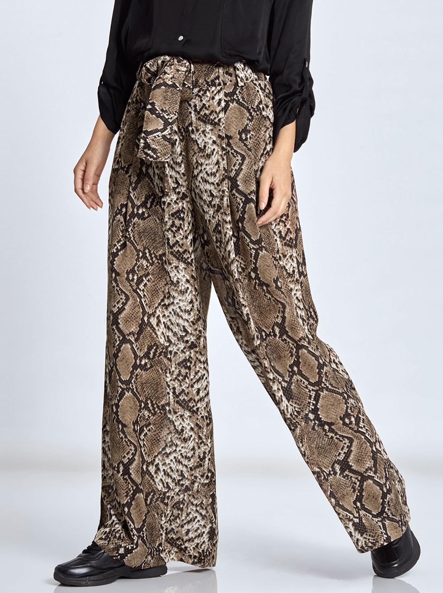 091717e0cada Παντελόνα με τύπωμα φίδι σε καφε