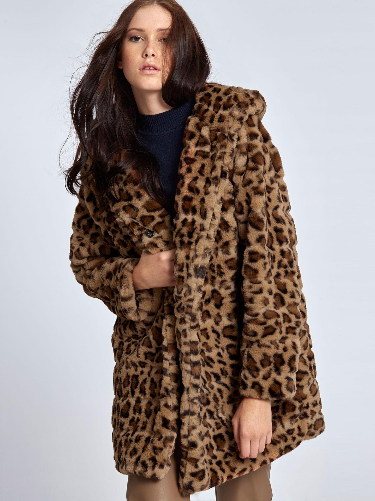 Λεοπάρ γούνινο παλτό σε καφε ανοιχτο 6e432365627