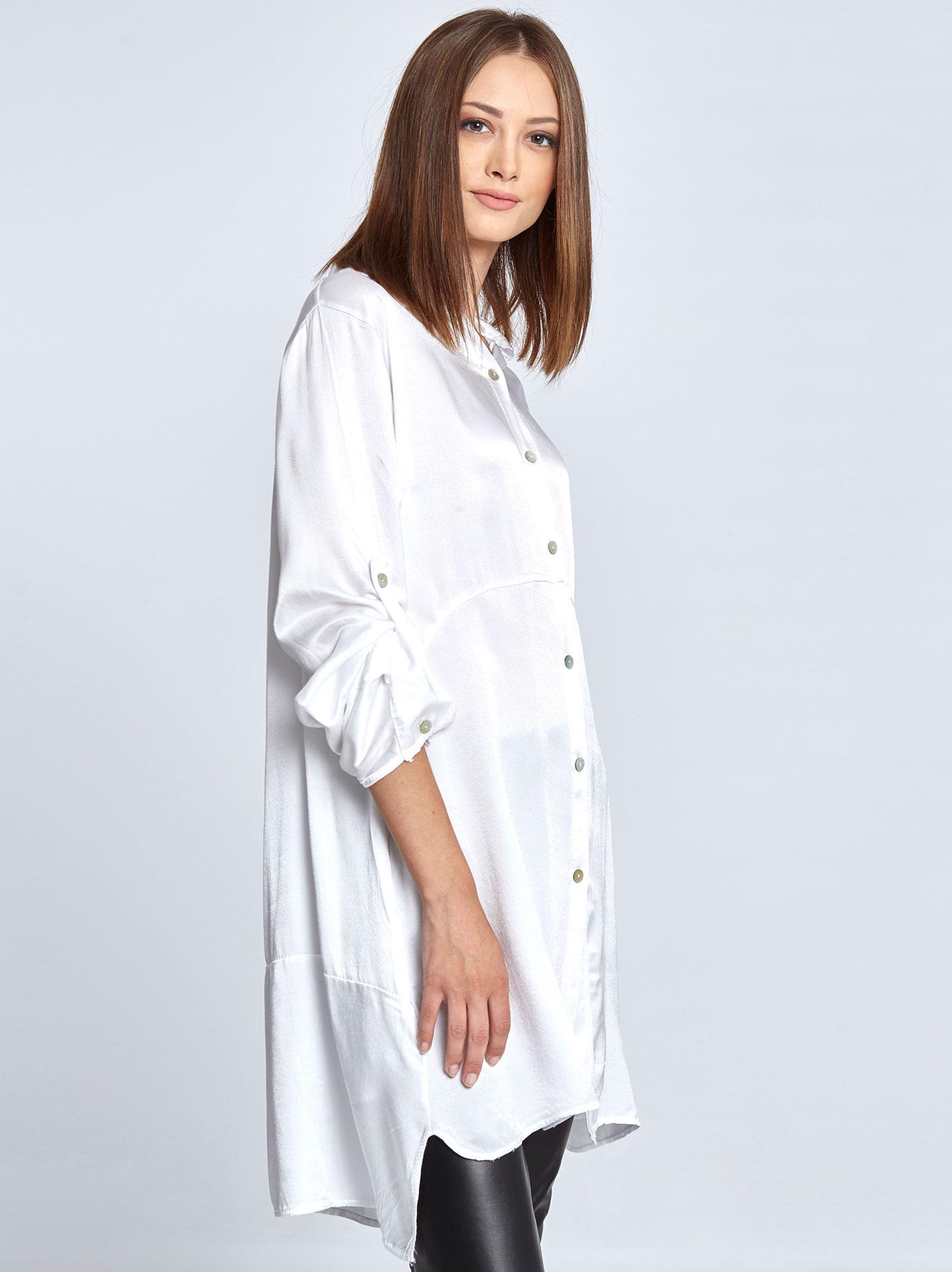 ed36ae9914b Satin-like long sleeve shirt in white