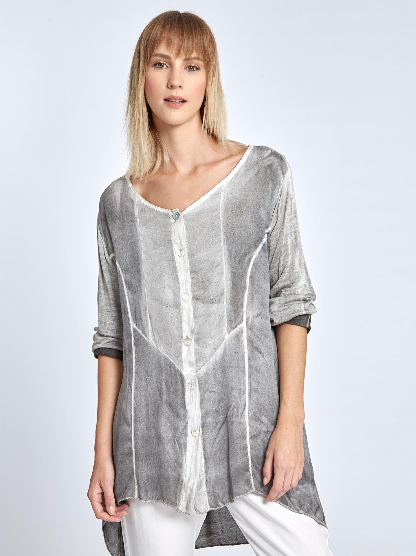 Μακρύ πουκάμισο με ξεβαμμένη όψη σε γκρι ανοιχτο 183af85b226