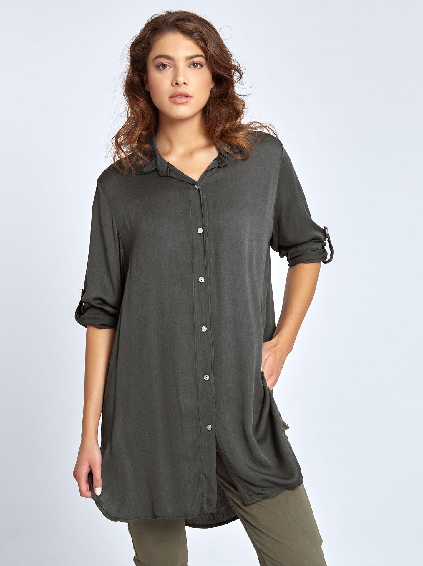 Μακρύ βαμβακερό πουκάμισο σε γκρι σκουρο 61f1f75c86b