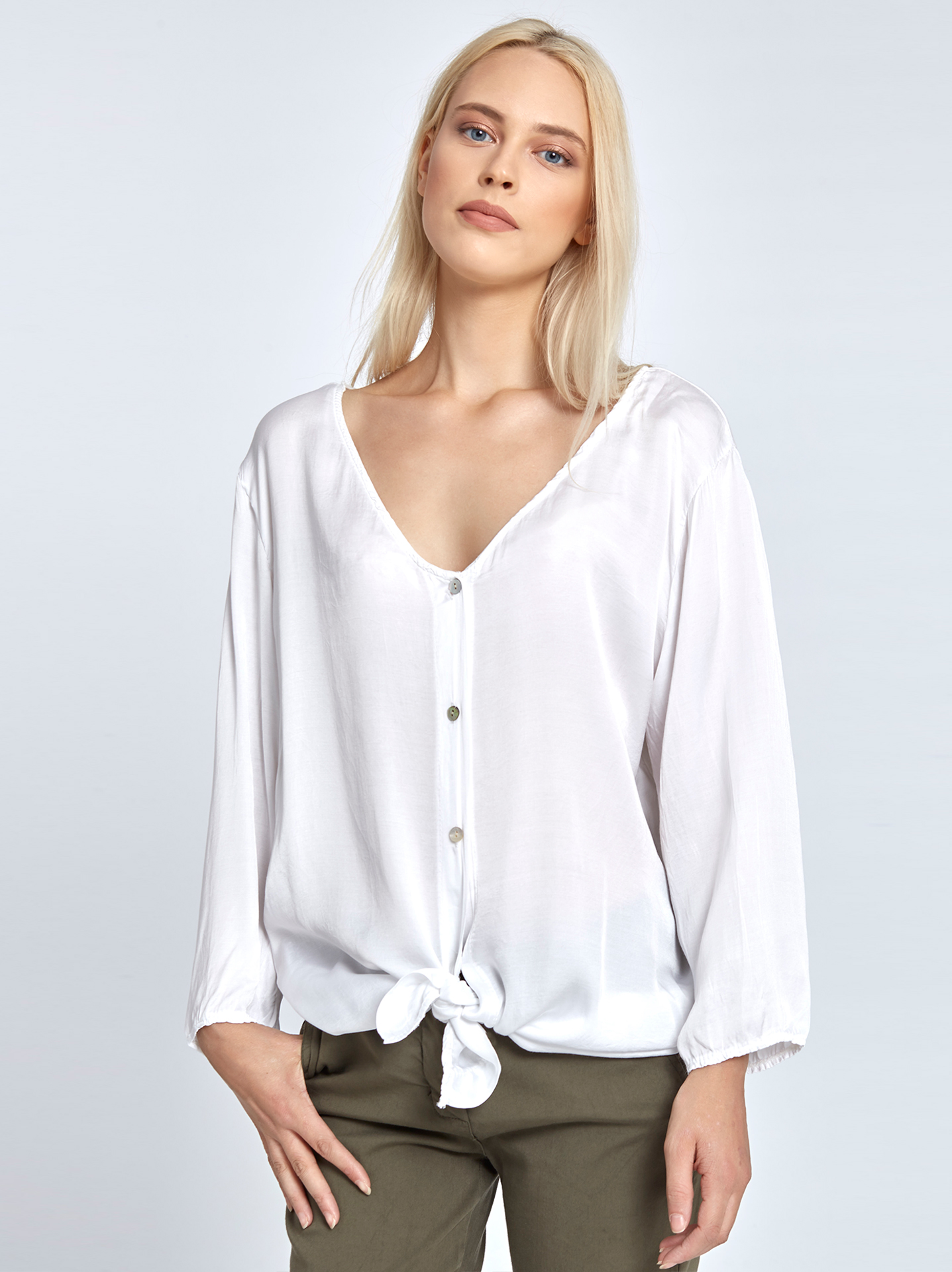 Satin-like tie front shirt white 5c4617c2c85
