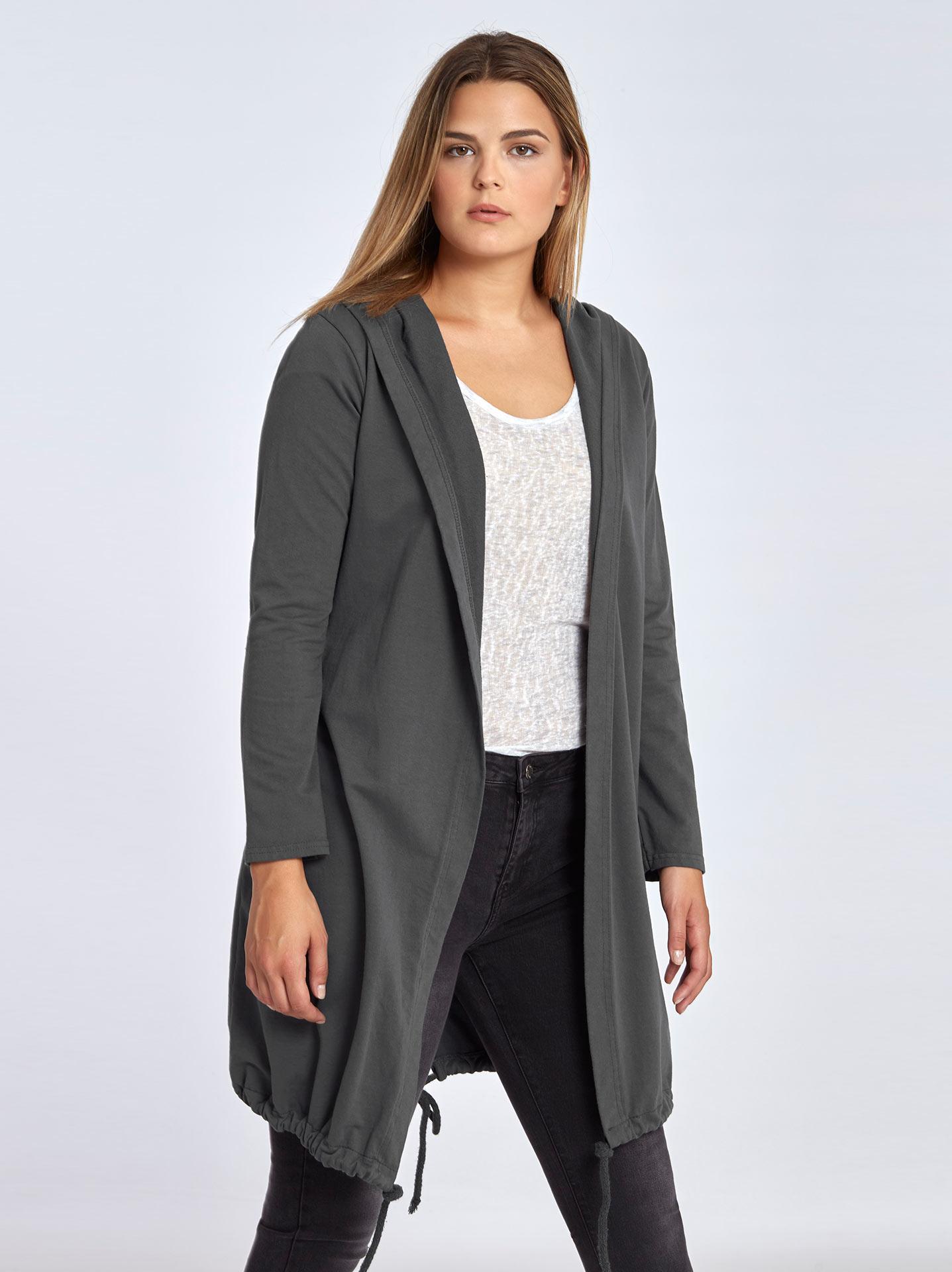 8a04d56adf Plus size hooded sweatshirt cardigan in dark grey