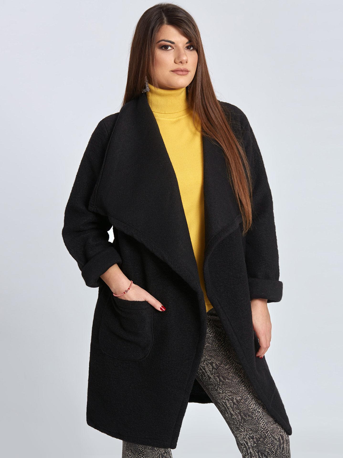 9bf4d6ee32b5 Μπουκλέ παλτό με τσέπες curvy σε μαυρο