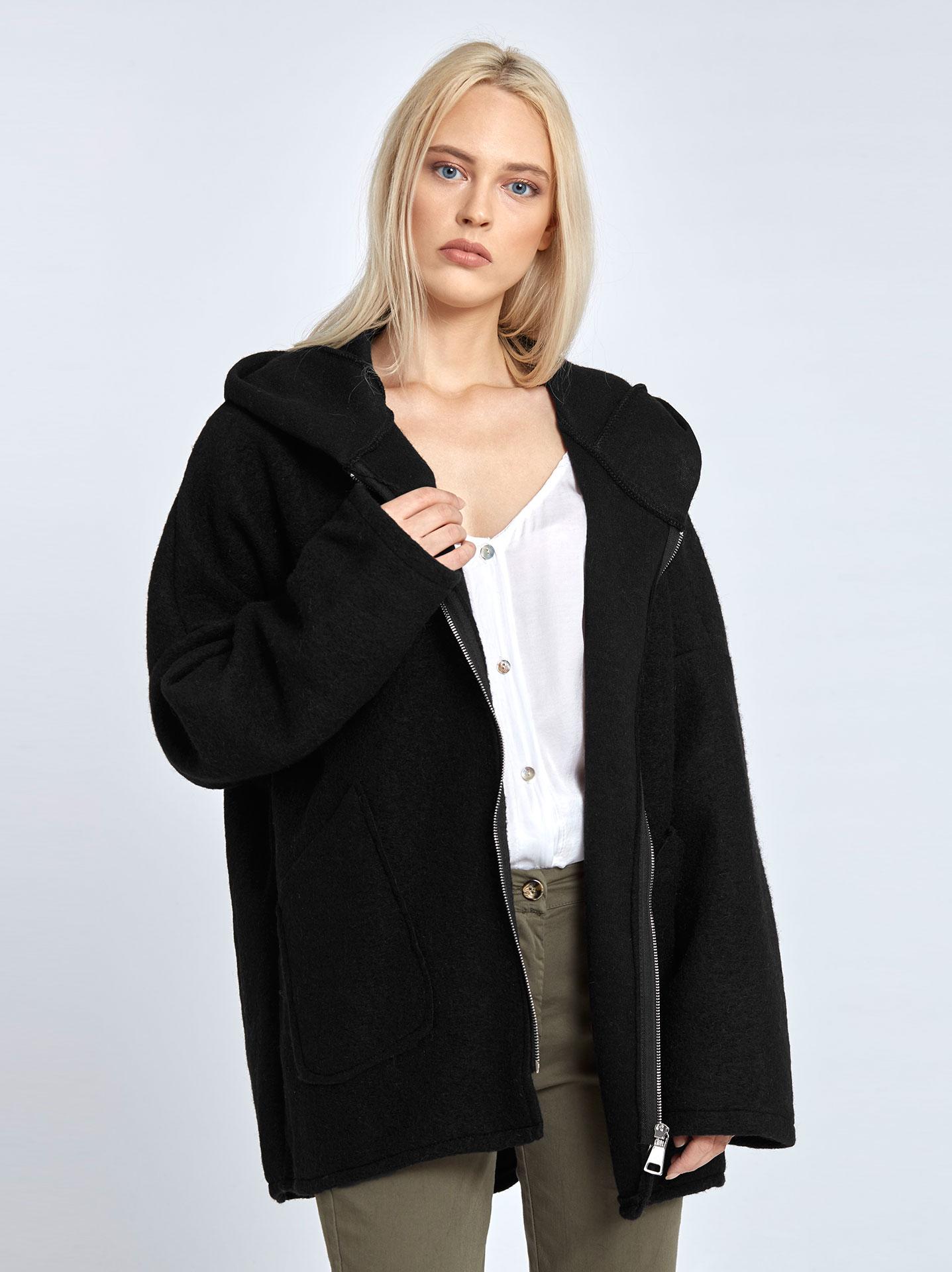 Μπουκλέ παλτό με κουκούλα σε μαυρο a109bedb64e
