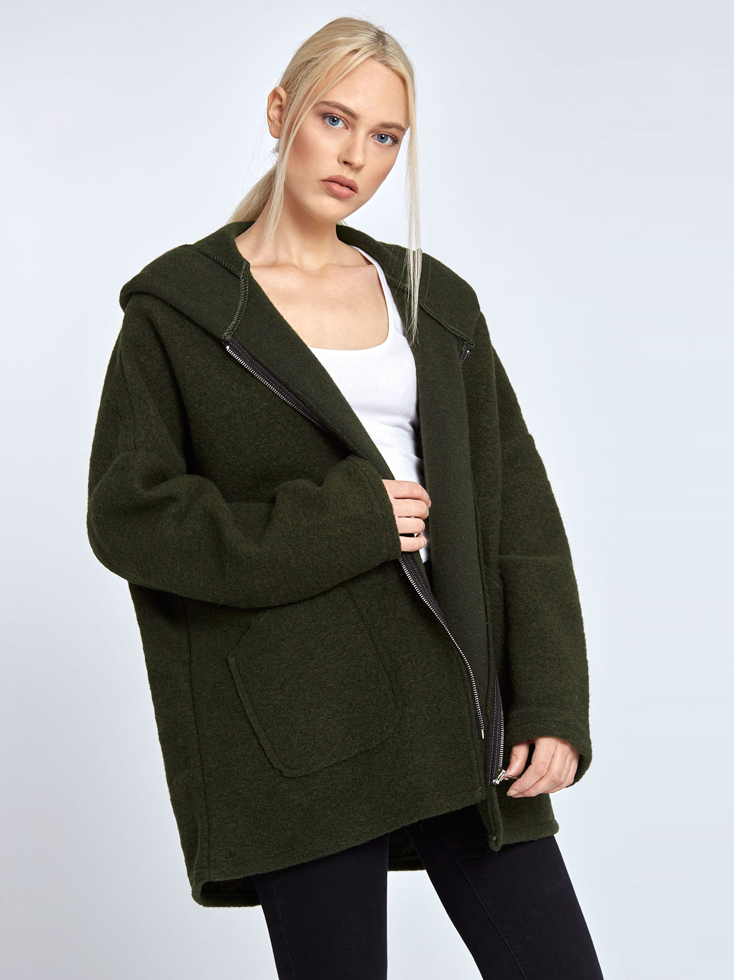 Μπουκλέ παλτό με κουκούλα σε χακι ad8ff5a34c6