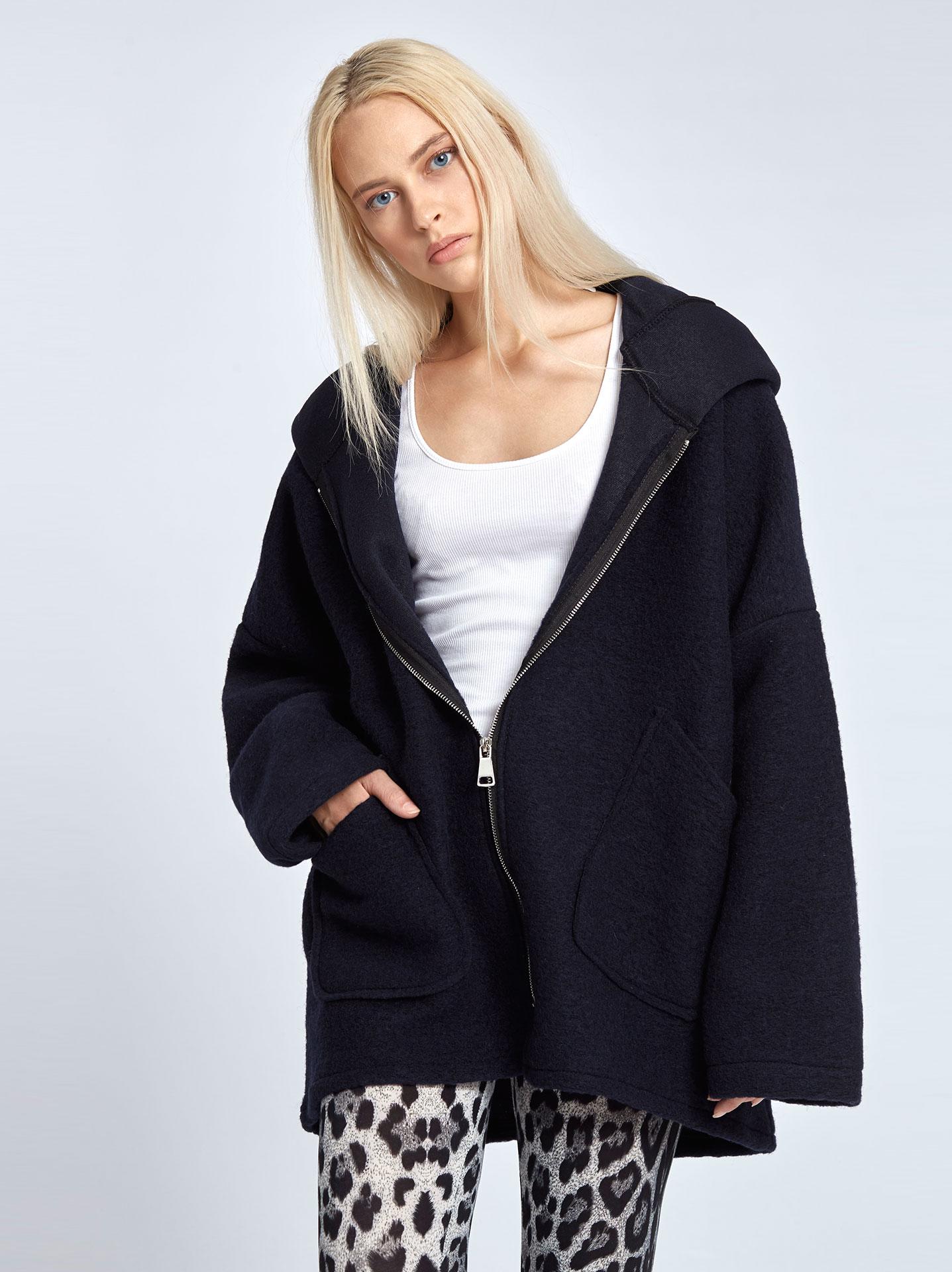 Μπουκλέ παλτό με κουκούλα σκουρο μπλε 4b43404c1cc