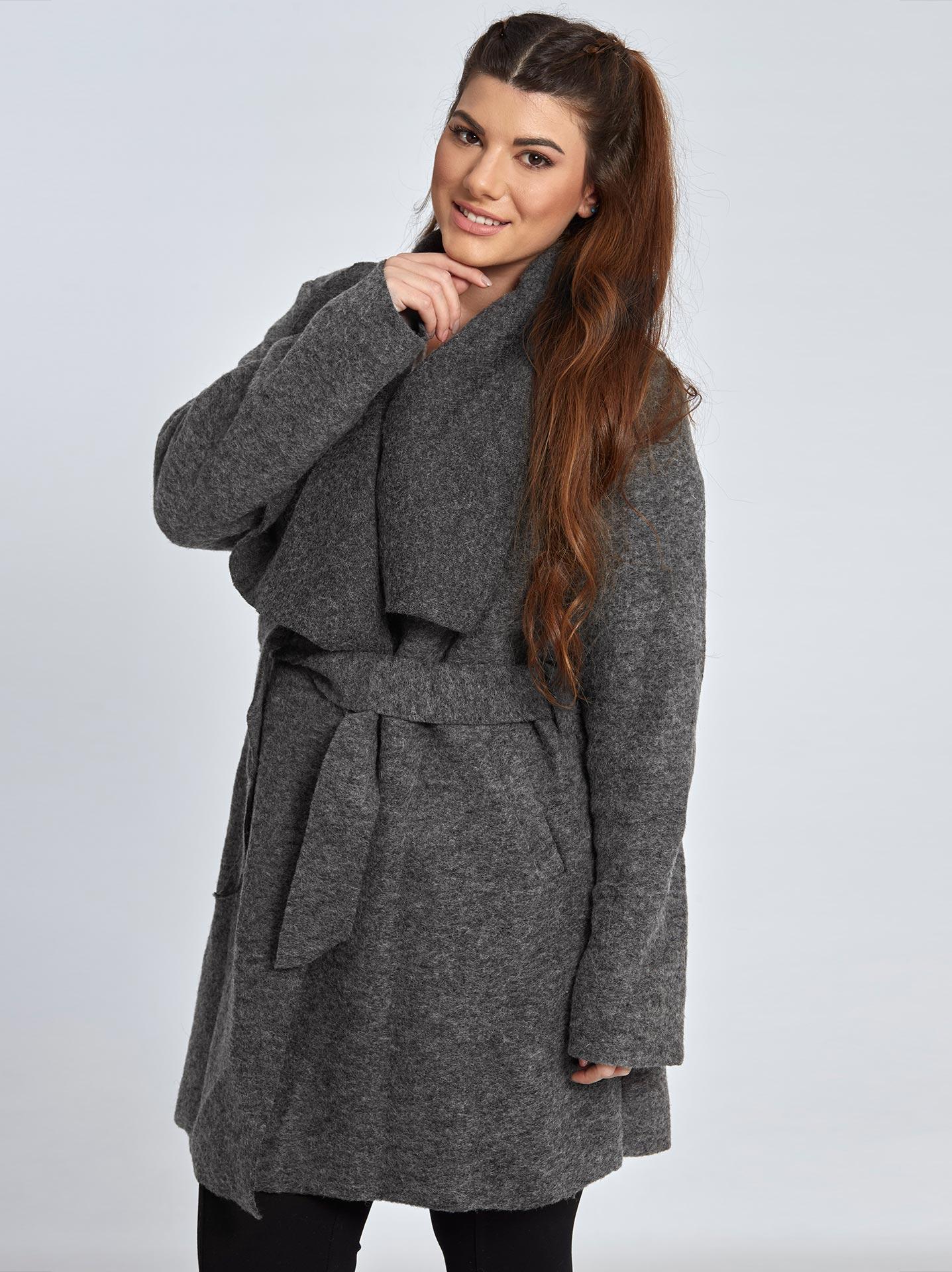 Μπουκλέ παλτό με ζώνη curvy σε γκρι 41ff86634cf