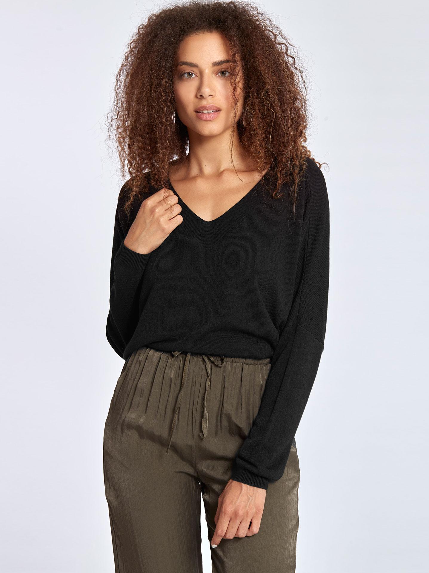 720fe1c2cf50 Μακρυμάνικη μπλούζα με v λαιμόκοψη σε μαυρο