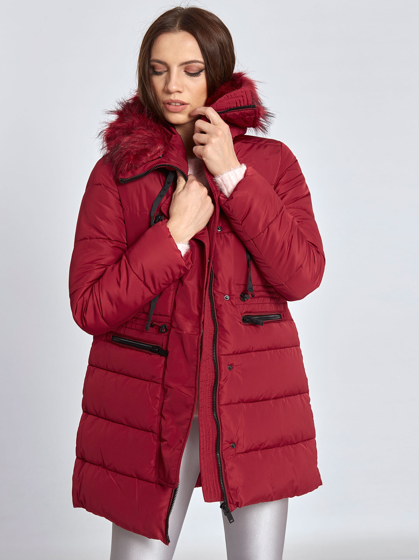cf96e6059cb9 Hooded puffer coat in wine red, 53.80€ | Celestino