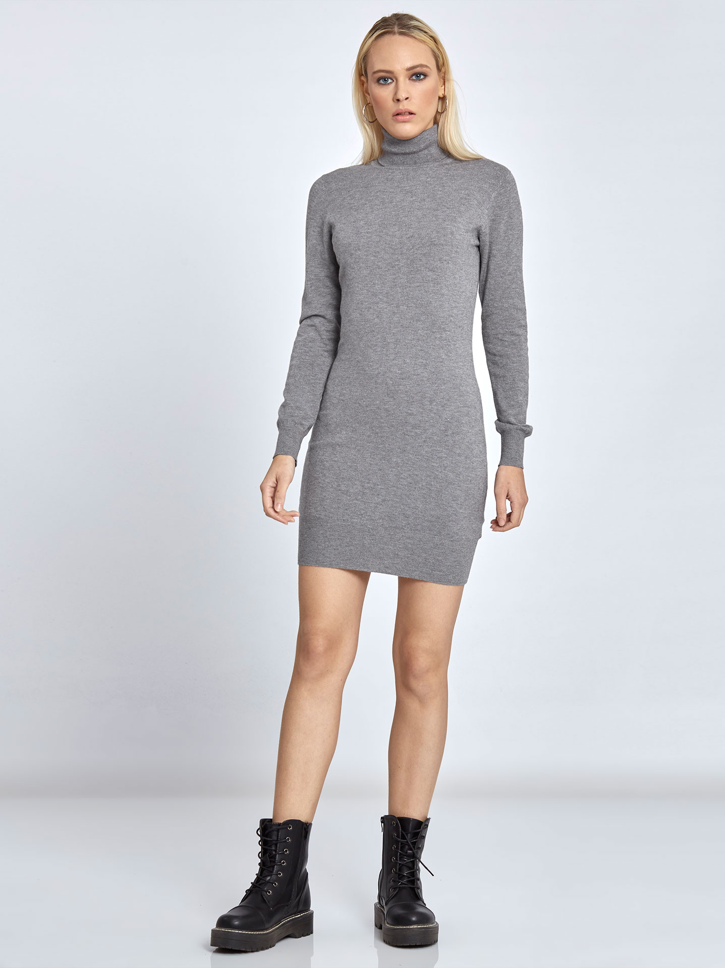 609b113d3982 Mini turtleneck sweater dress in grey