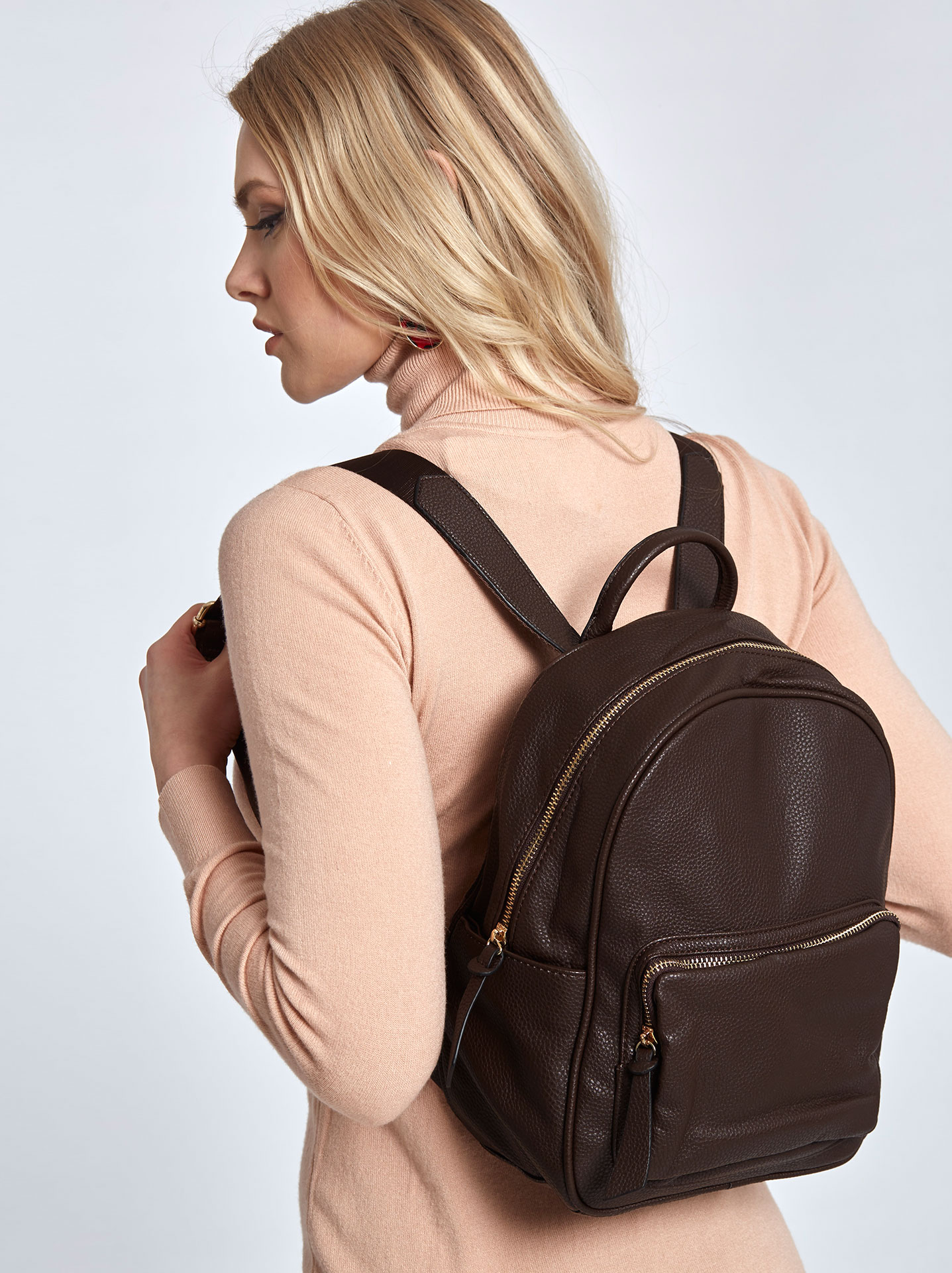 78150fa563 Faux leather backpack in dark brown