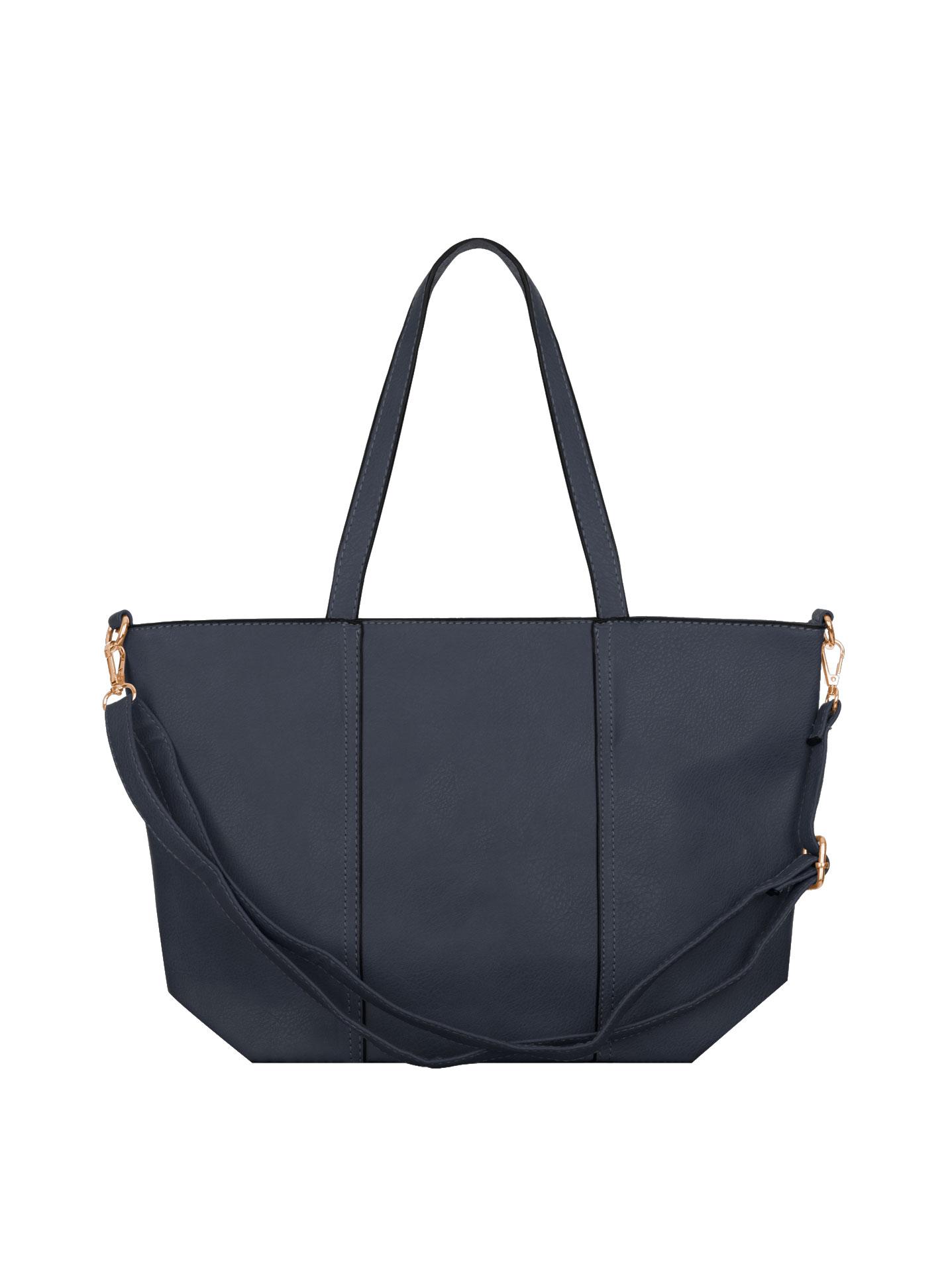 Shoulder bag with decorative seams in dark blue bf874010c3638
