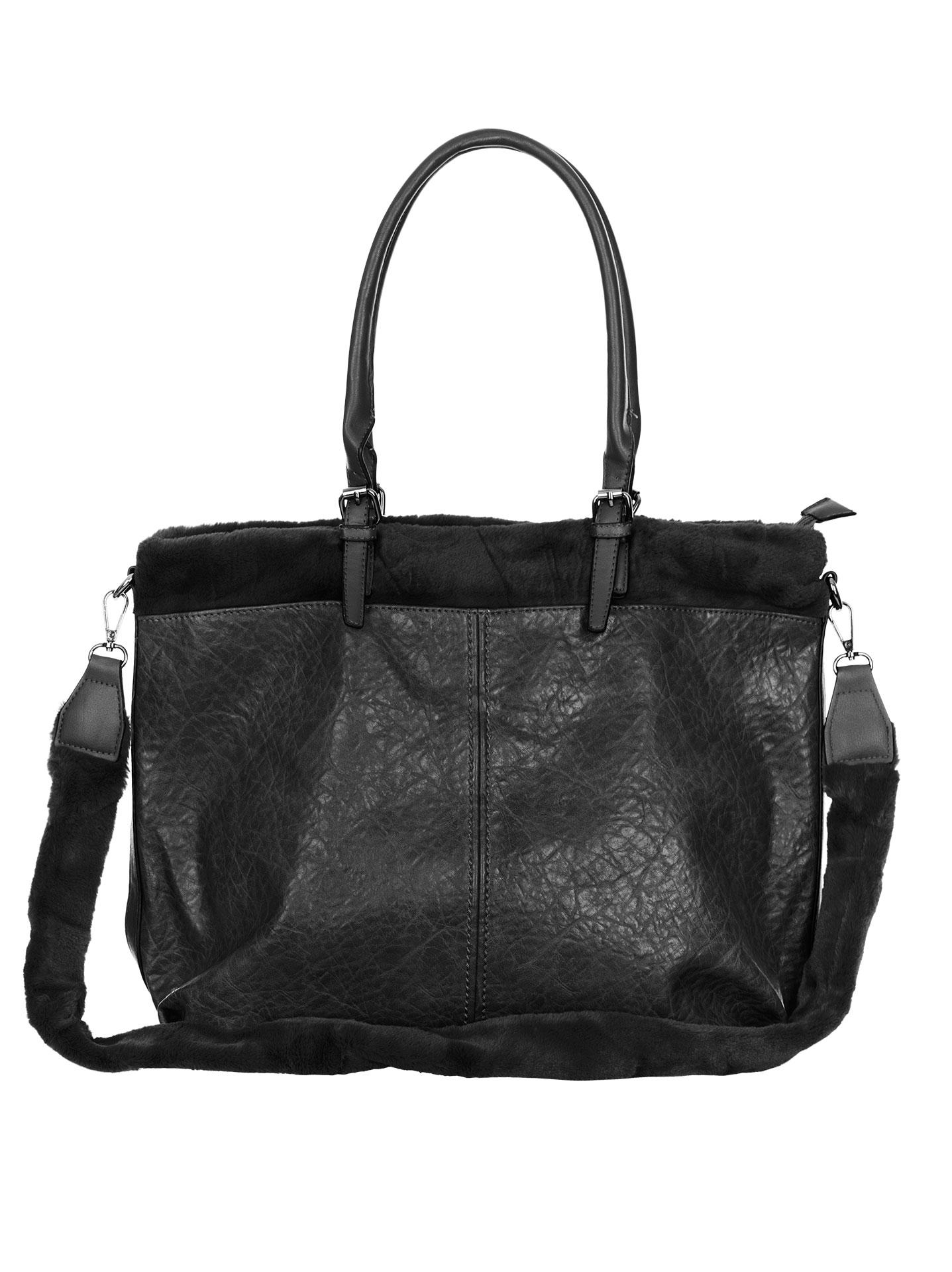bee94609301f Τσάντα με λεπτομέρεια συνθετικής γούνας μαυρο