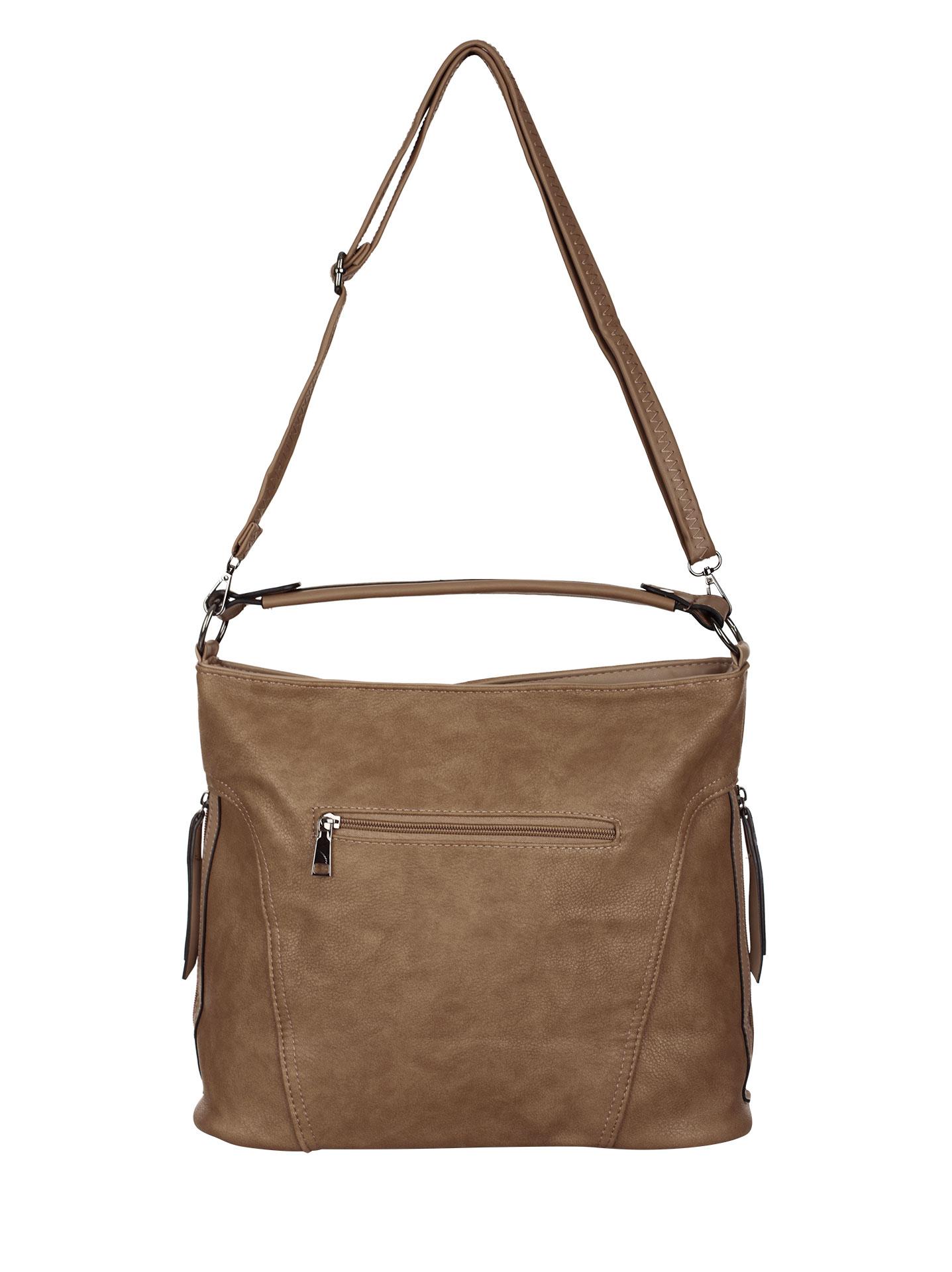 d92ebeb915 Τσάντα ώμου με πλαϊνά φερμουάρ σε καφε