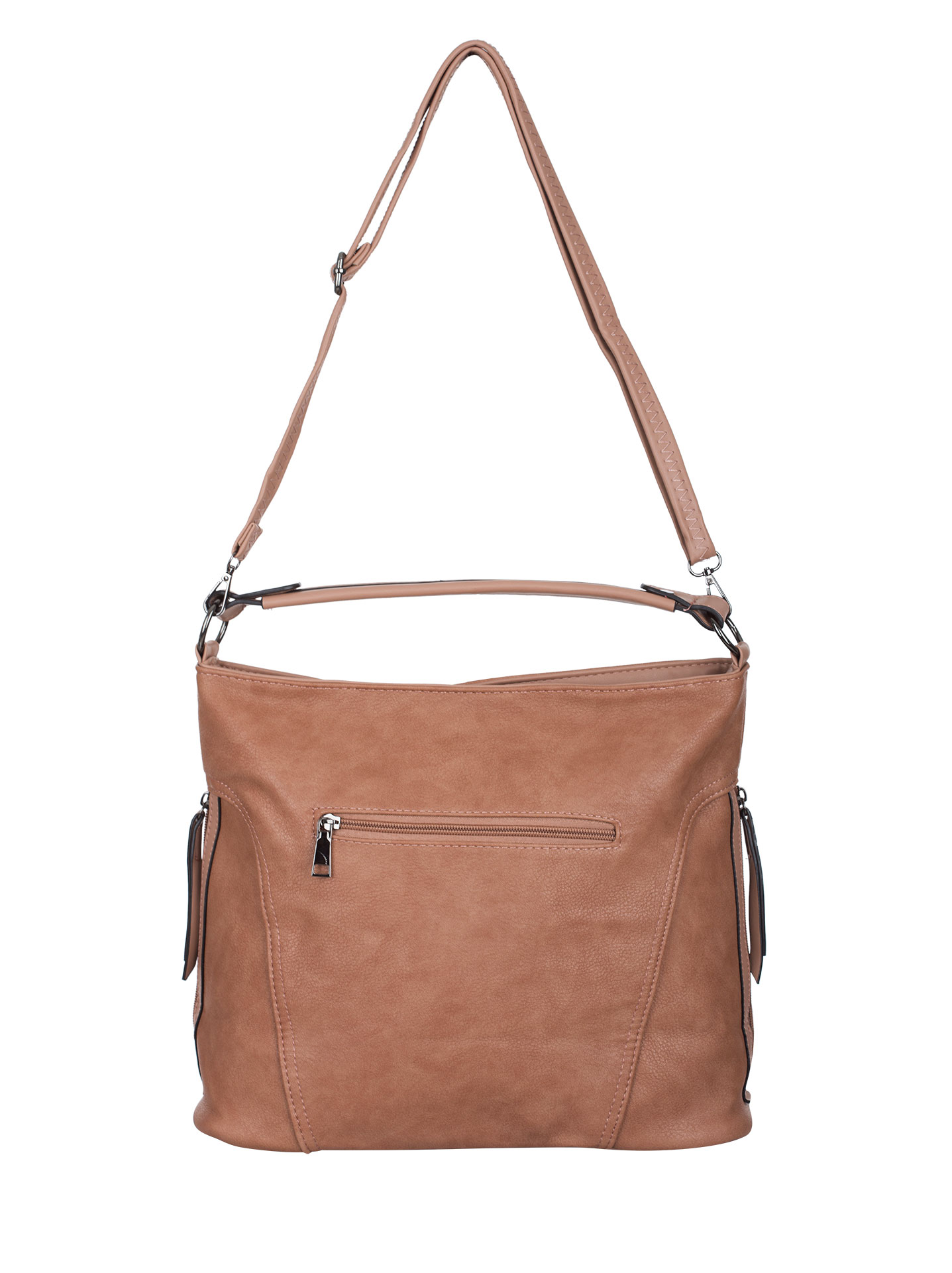 Shoulder bag with side zips in dusty pink 192ff6d869537