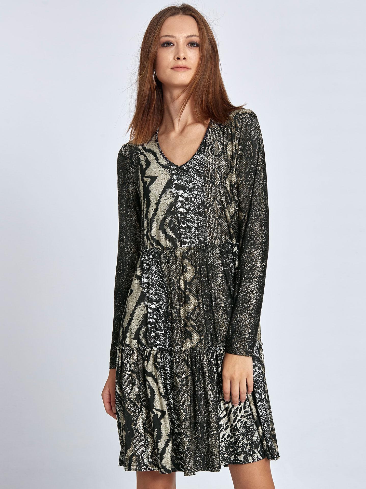 Mini ruffled dress in animal print in light brown a9f41f3c2